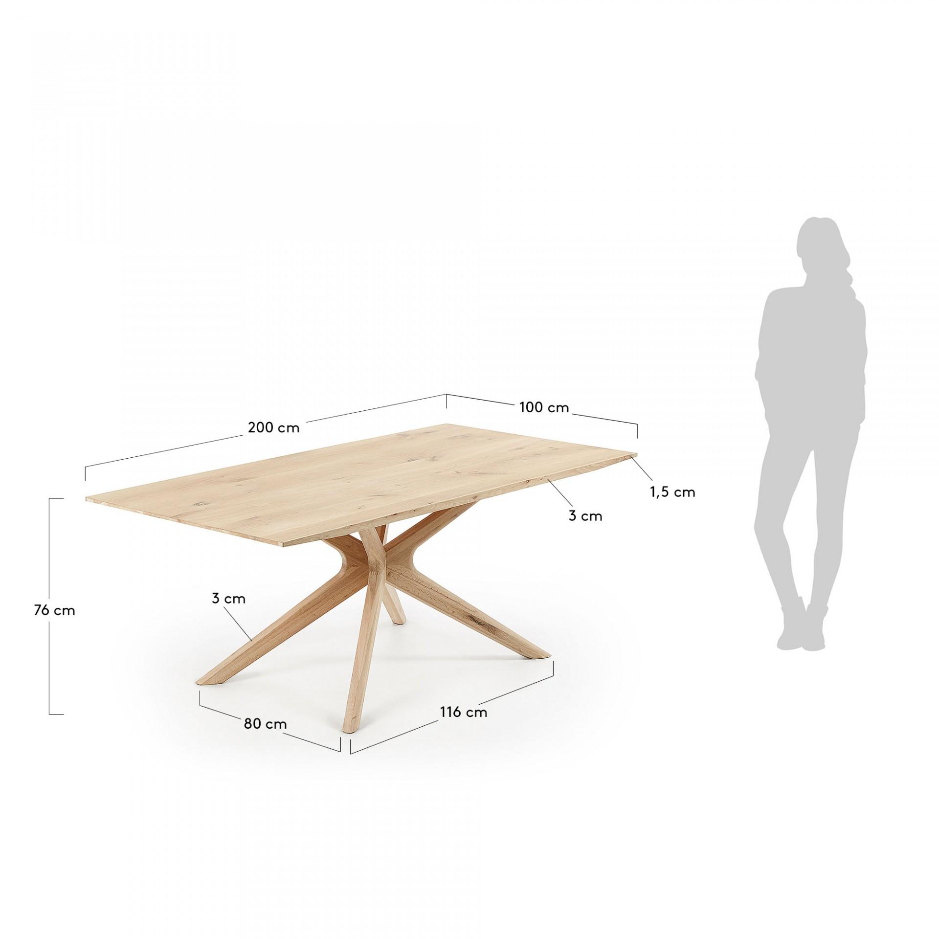 Mesa de jantar Arman, madeira de carvalho