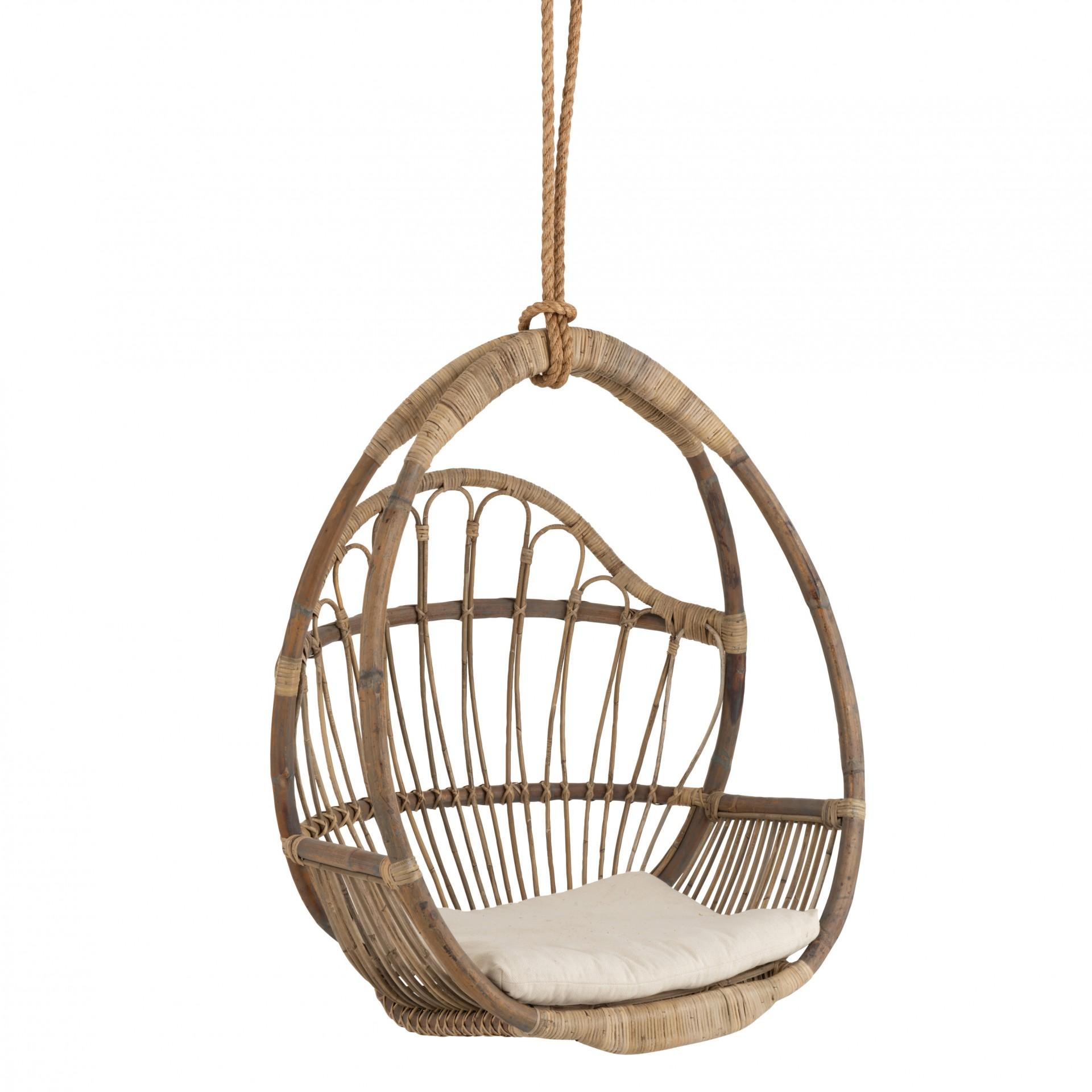 Cadeira suspensa Egg, c/almofada, vime natural, 88x63x109