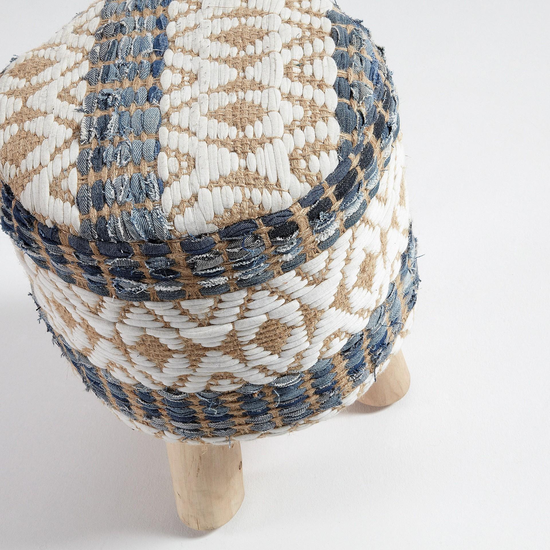 Tamborete Lucki, madeira teca/juta, multicolor, Ø33x43