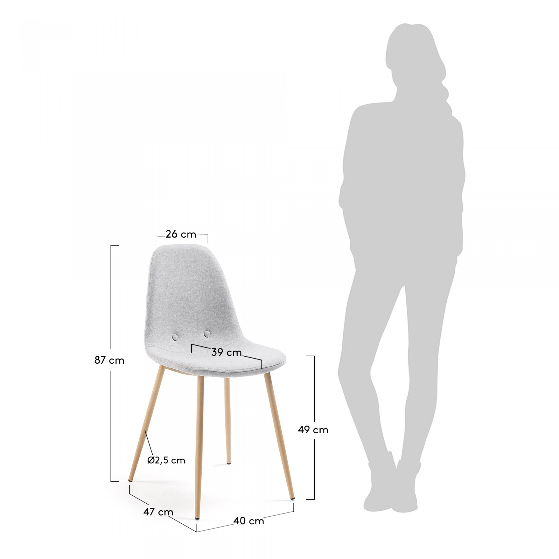 Cadeira Yare, estofada, 46x50x88
