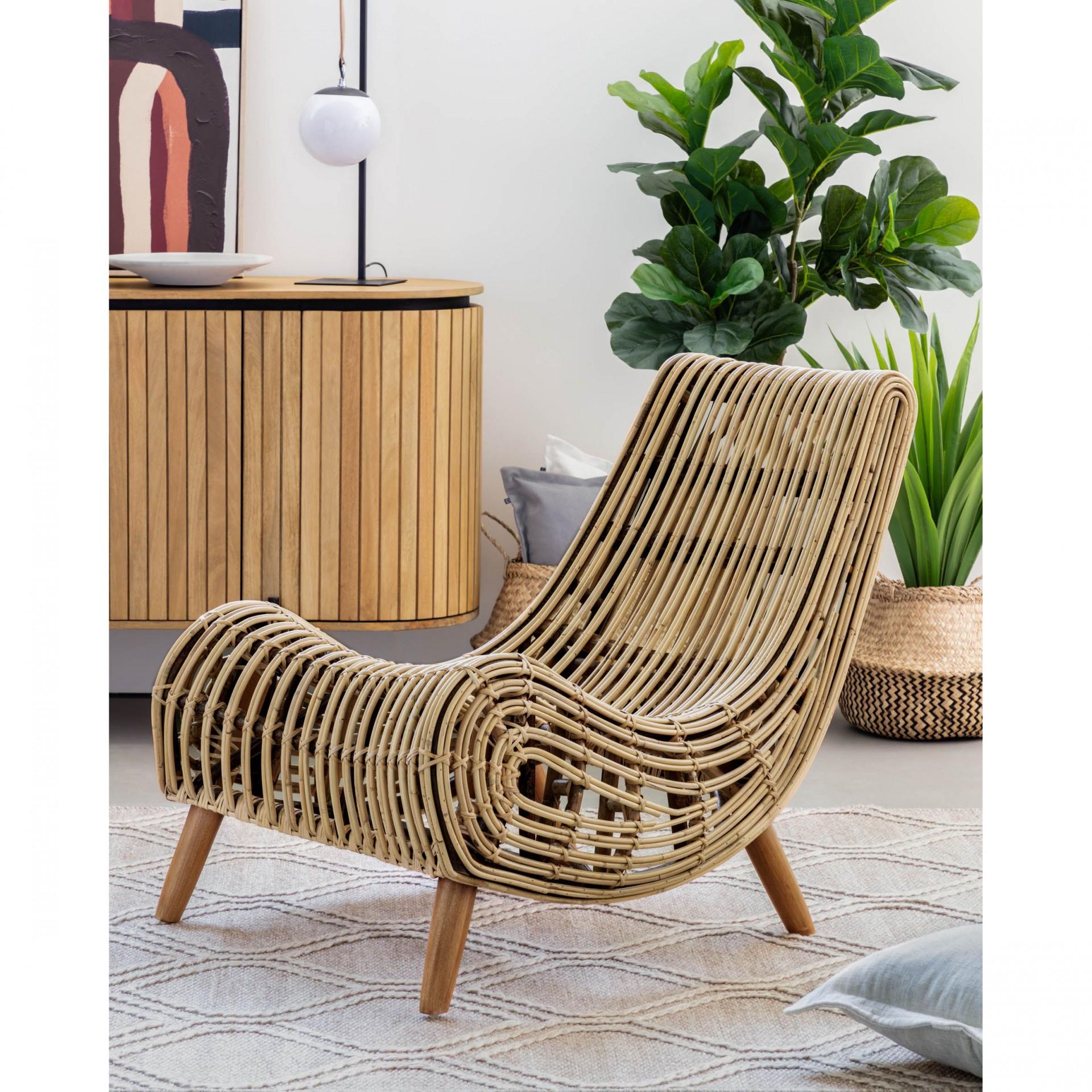Cadeirão Bali, madeira de mogno/rattan natural