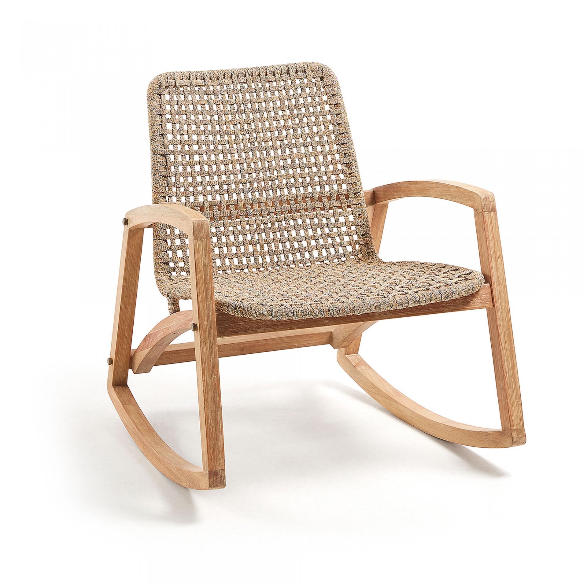 Cadeira de baloiço Thuna, madeira de eucalipto/corda poliéster