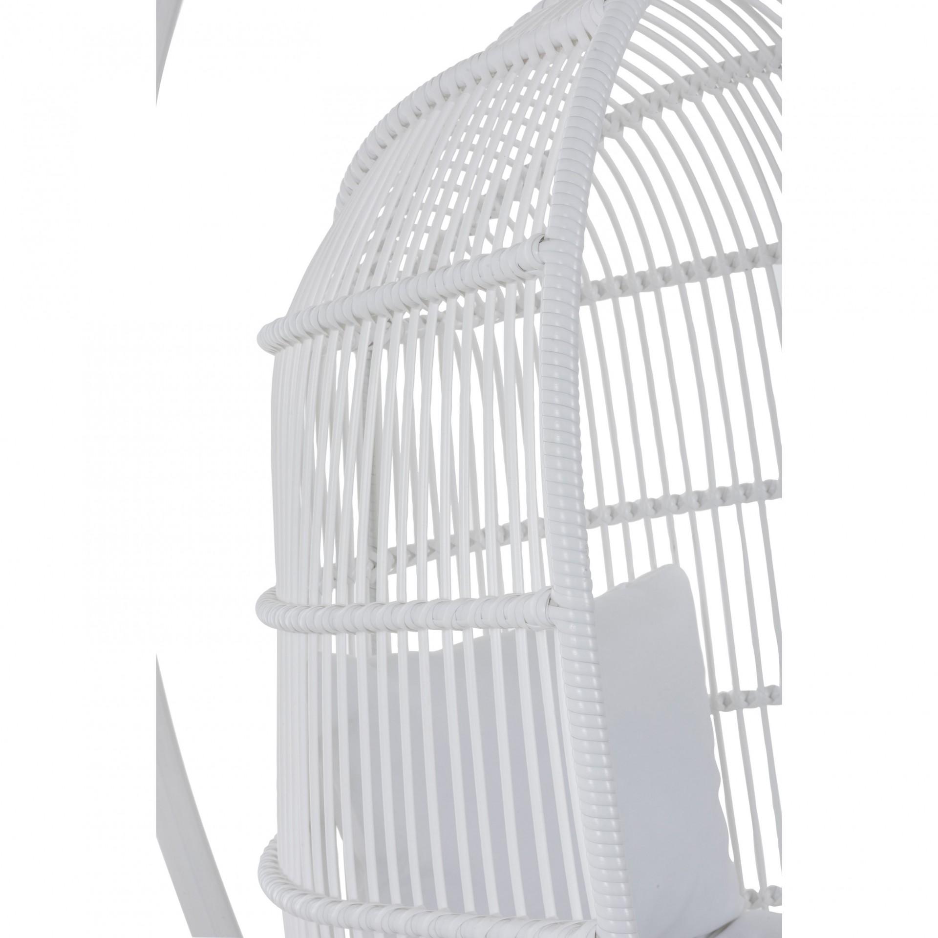 Cadeira suspensa c/base, metal/vime, branco, 119x105x193