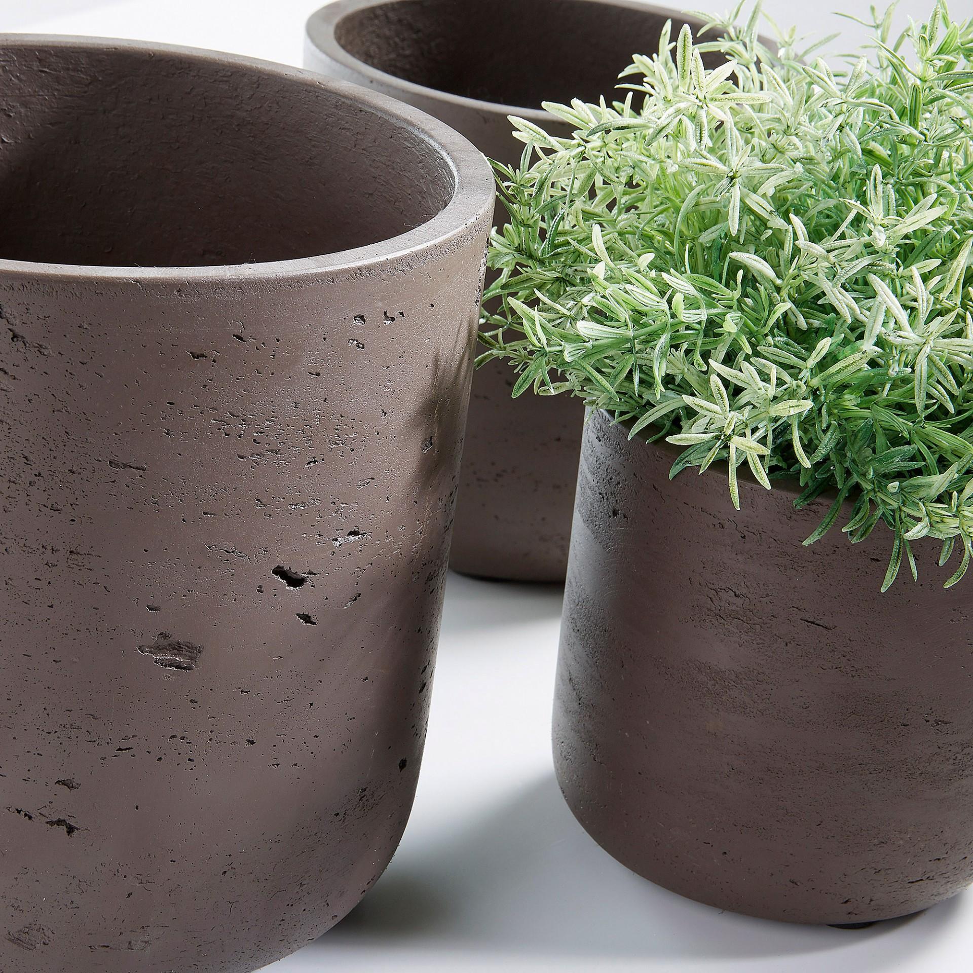 Vasos Must, poli-cimento, castanho, (Conj.3)
