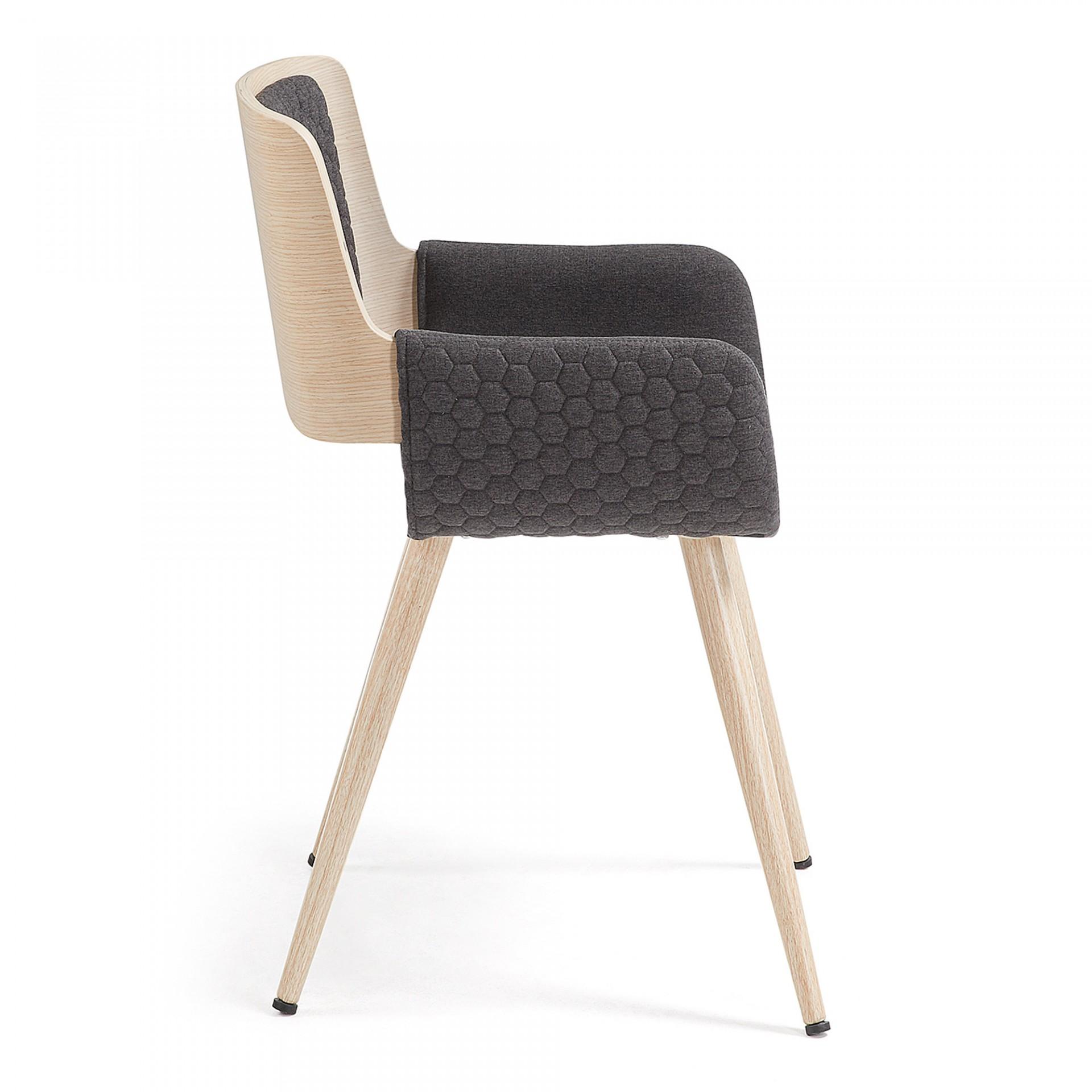 Cadeira Anger, estofada, madeira de carvalho/metal