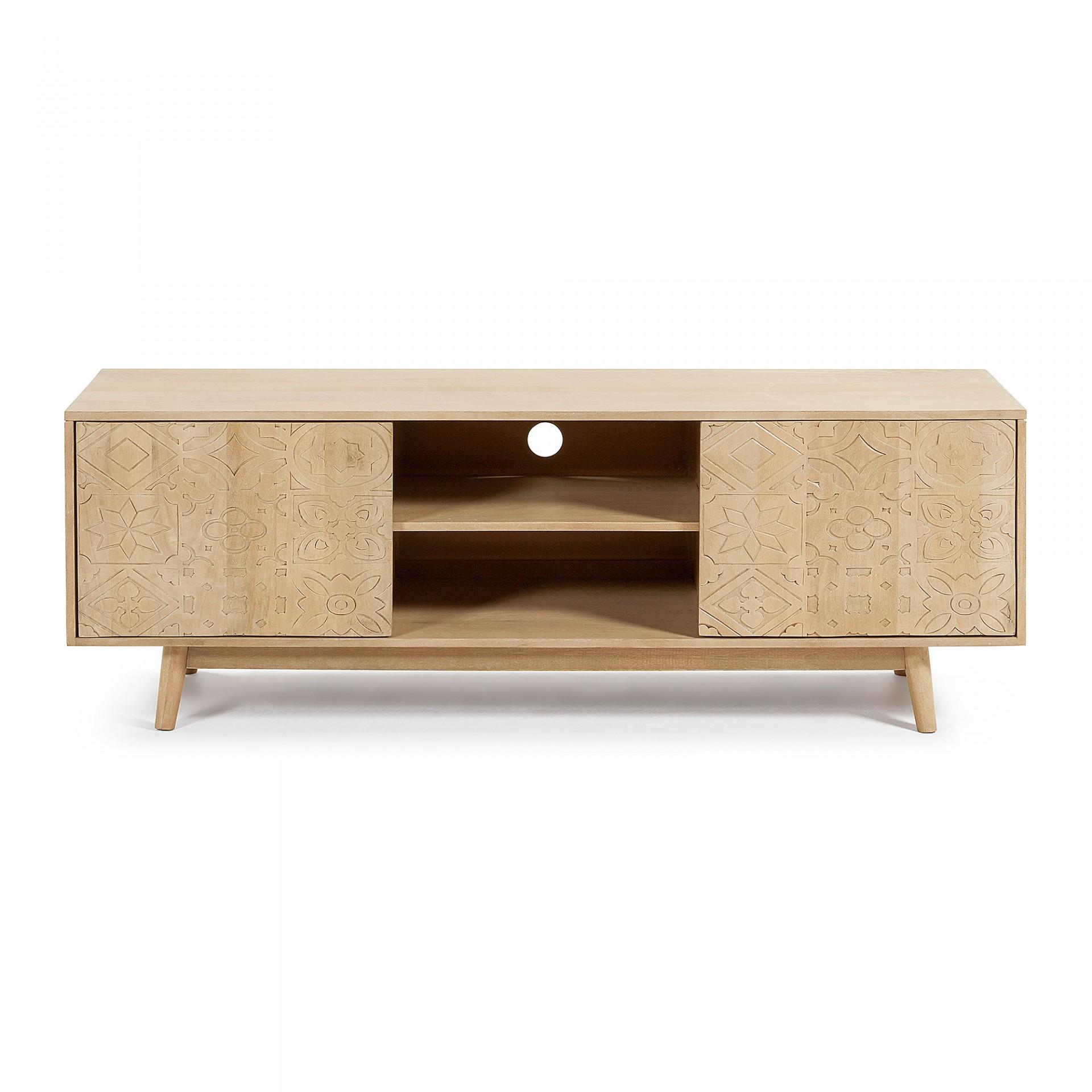 Móvel TV Selab, madeira de manga natural, 160x56
