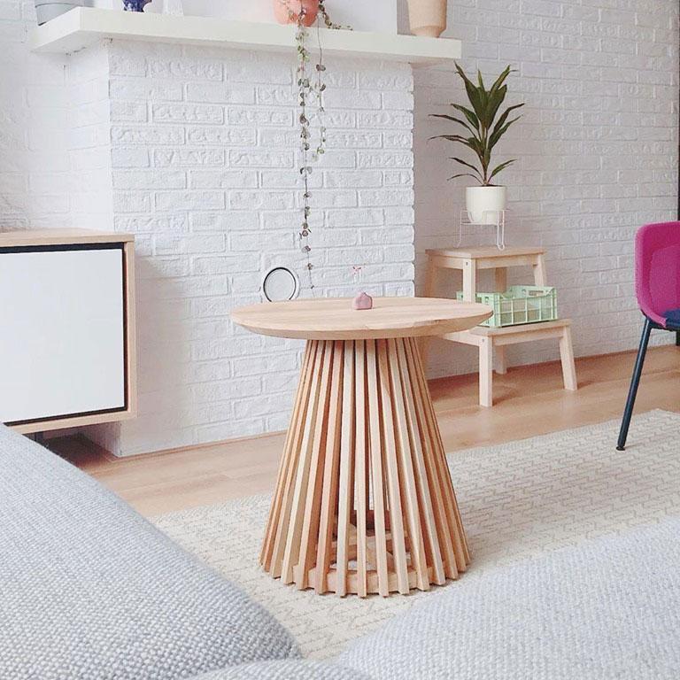 Mesa de apoio Janette, madeira teca natural, Ø50x48
