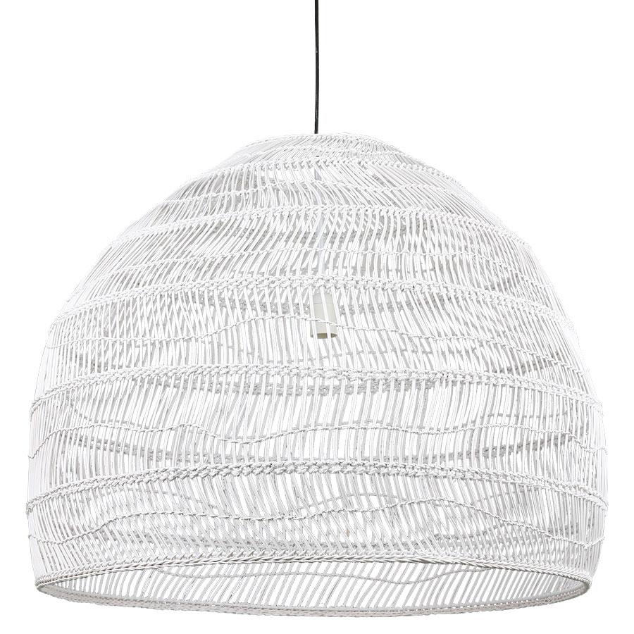 Candeeiro de tecto Ball, rattan natural, branco