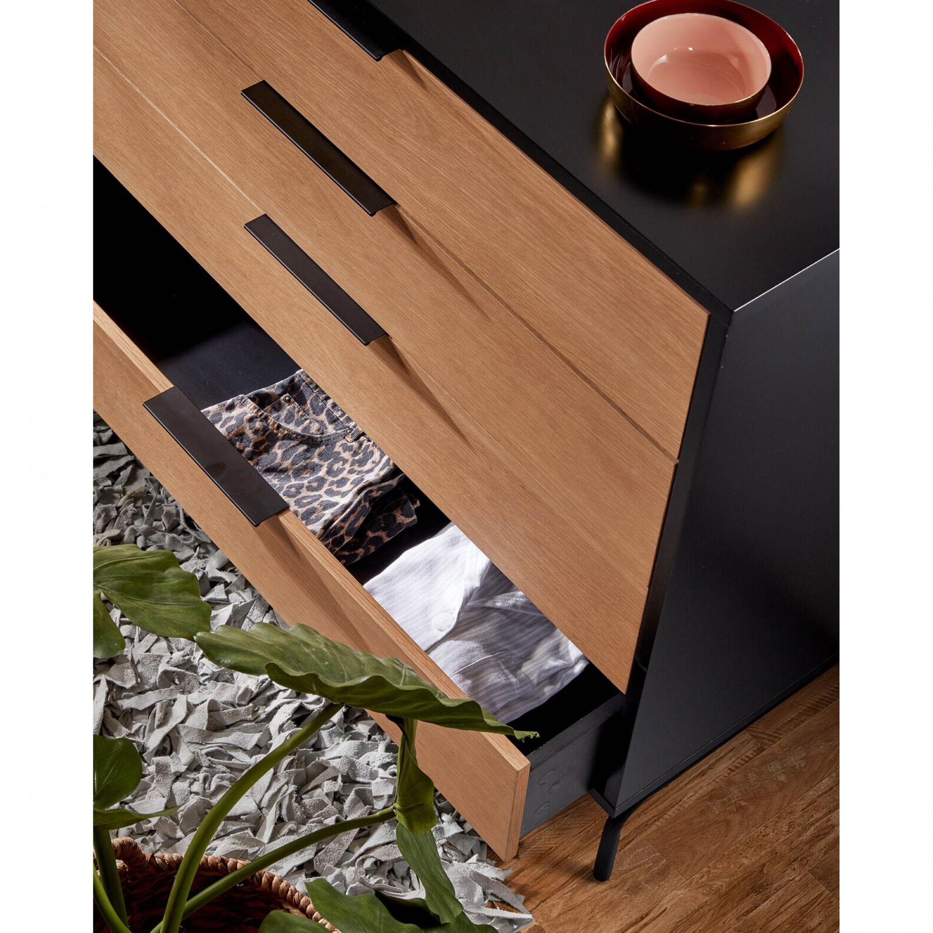 Cómoda Sava, madeira de carvalho/MDF lacado, 100x90