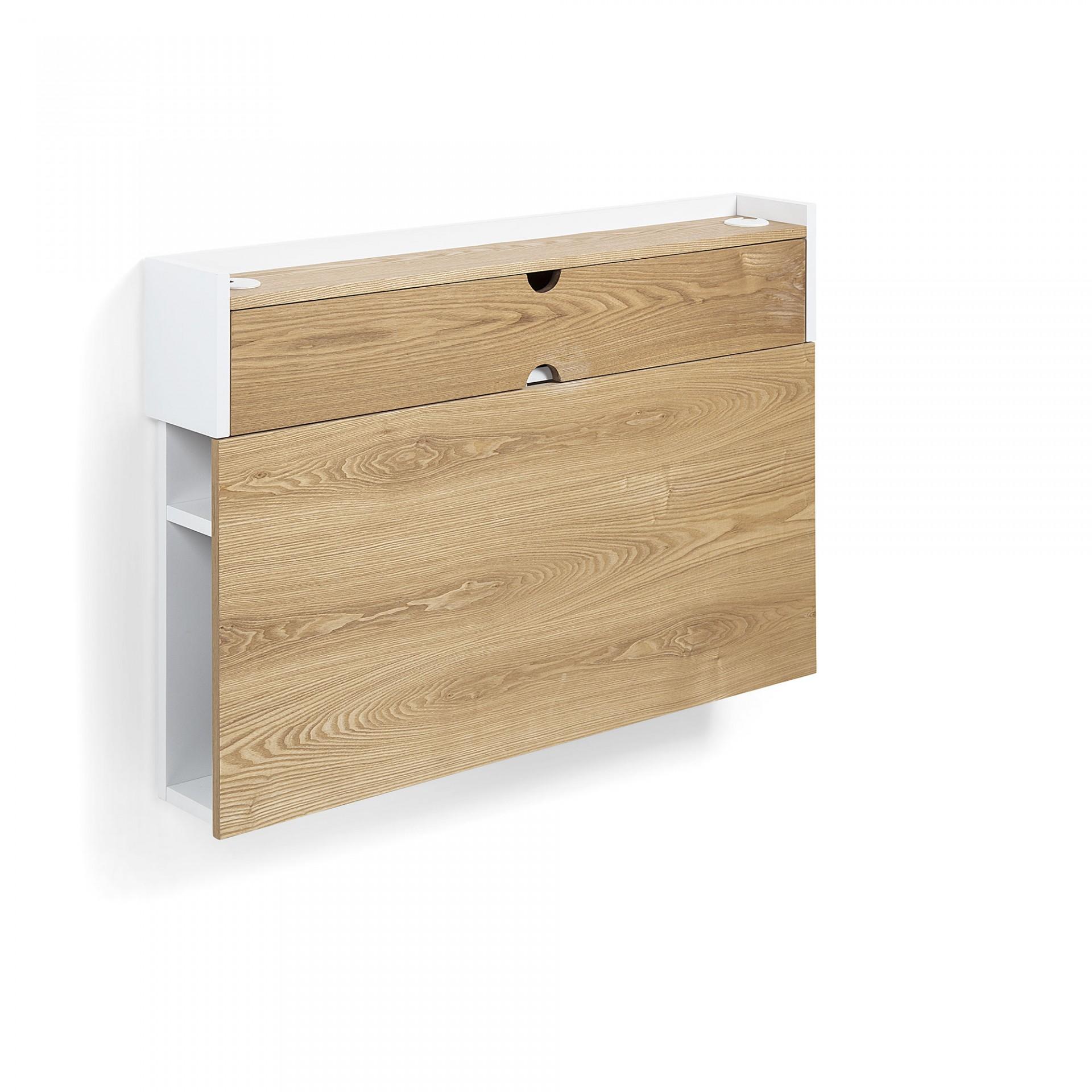 Secretária de parede, madeira de freixo, 100x74