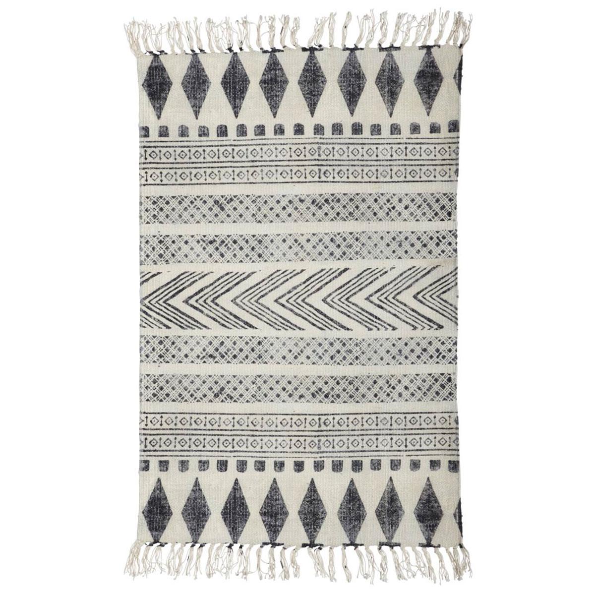 Tapete Block, algodão, branco/preto, 230x160