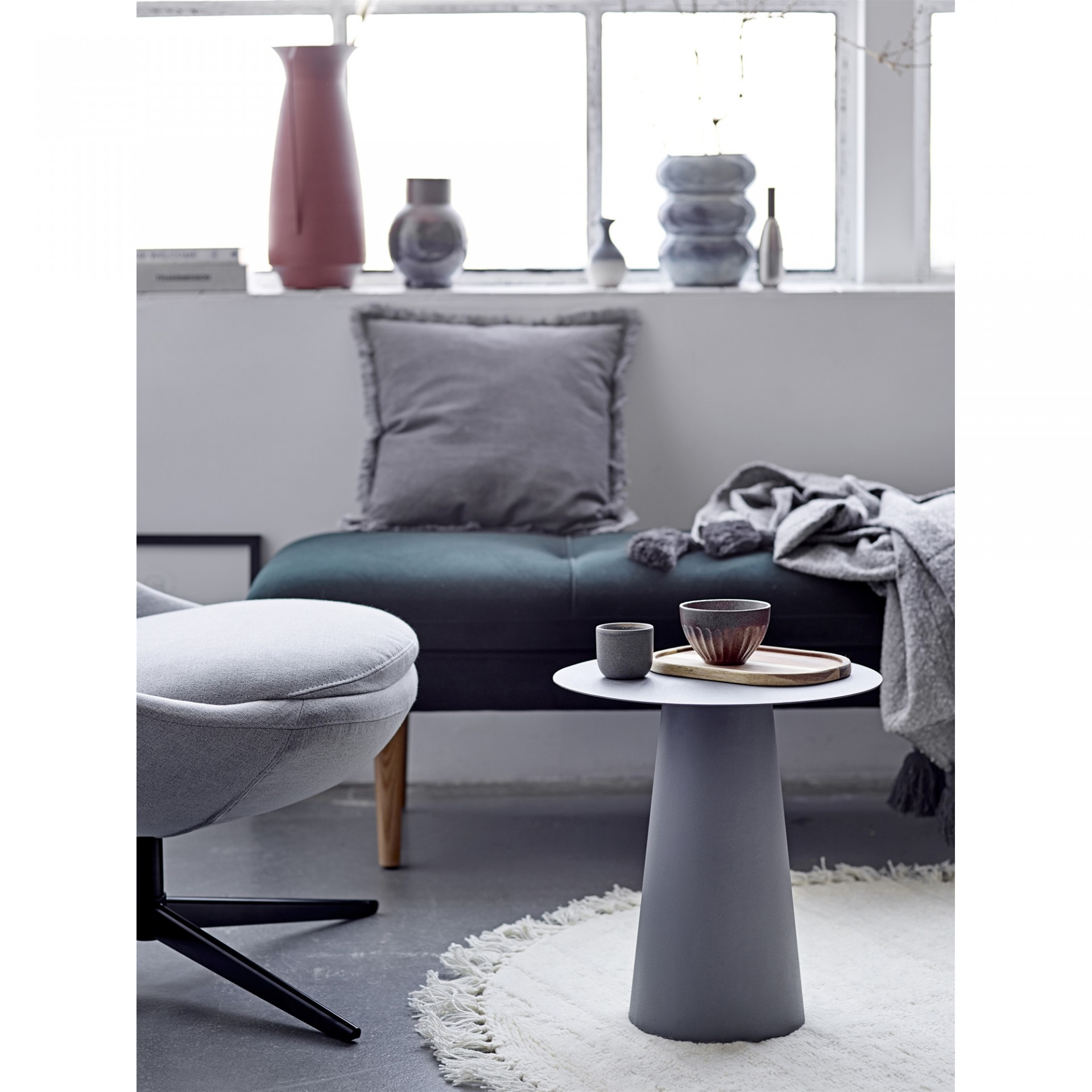 Tapete c/franjas, lã natural, branco, Ø110