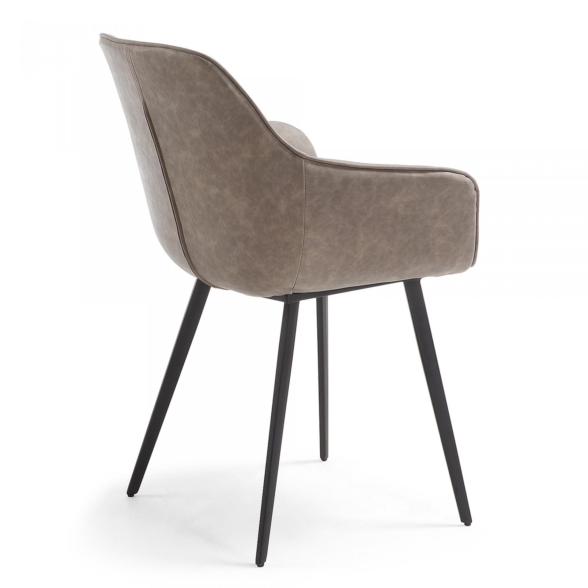 Cadeira Almira, c/braços, pele sintética