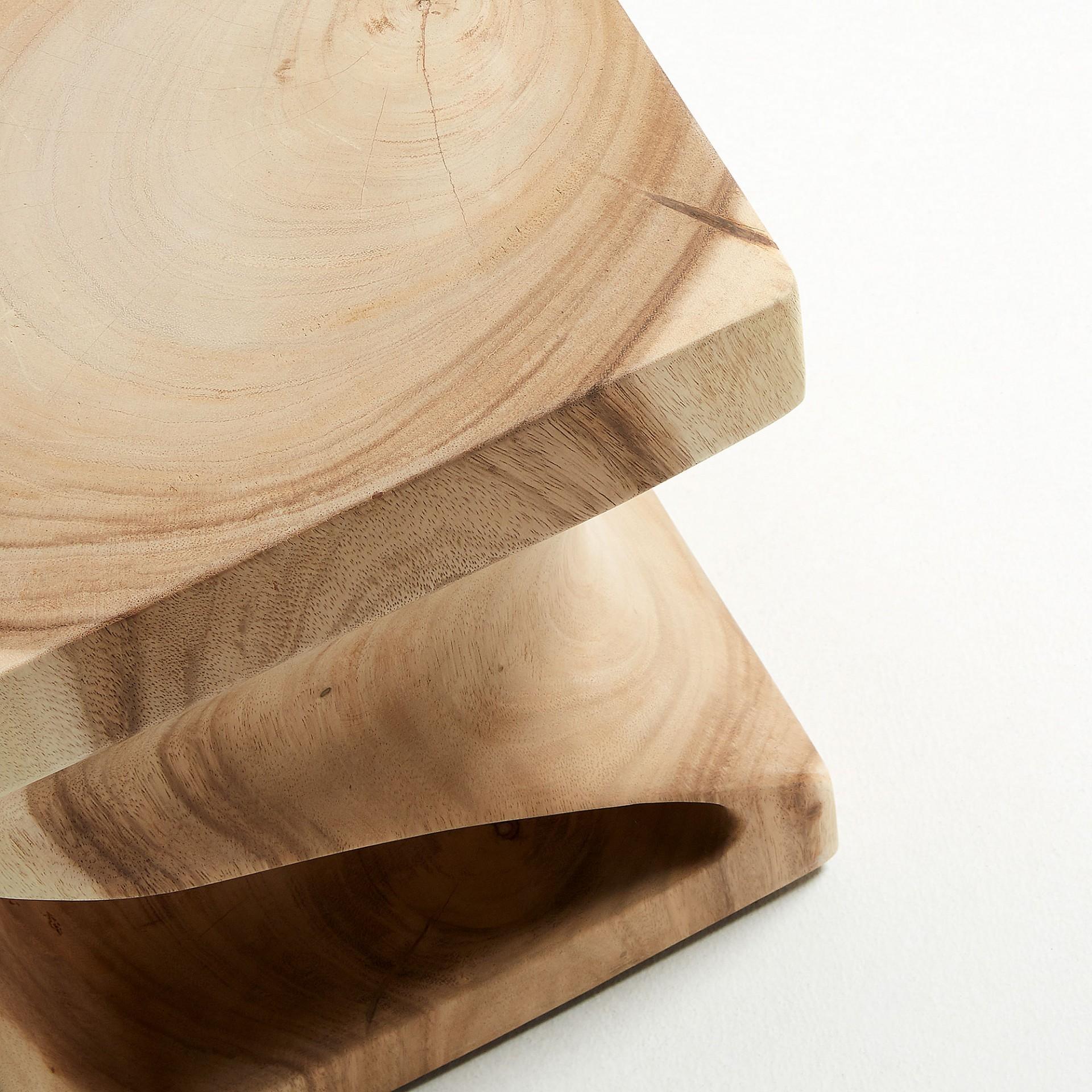 Mesa de apoio Akin, madeira Munggur natural, 30x30x46