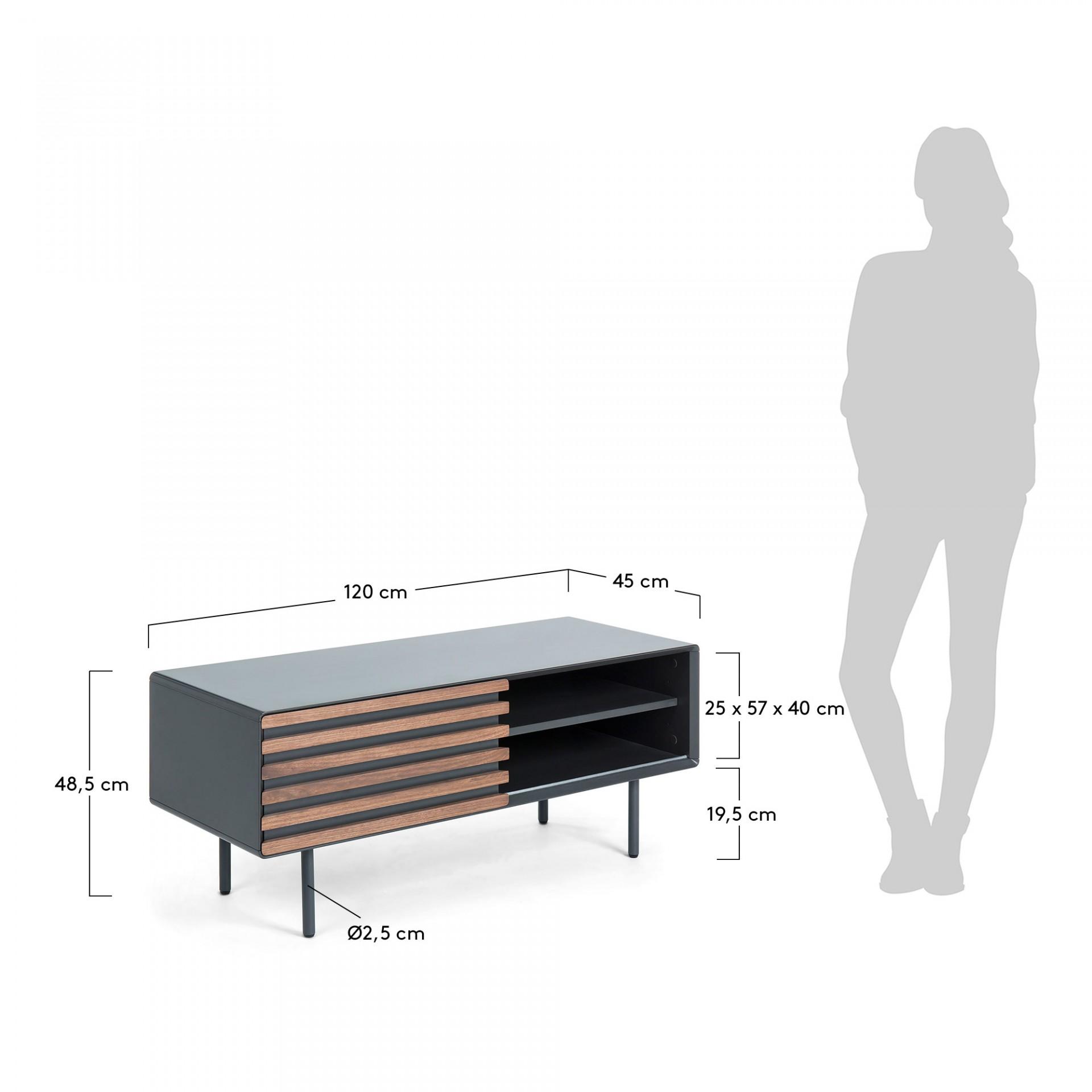 Móvel TV Kasia, MDF lacado/madeira de nogueira, 120x48