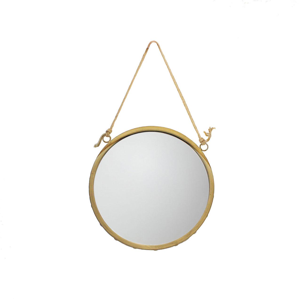 Espelho c/corda em juta, metal/dourado, Ø36cm