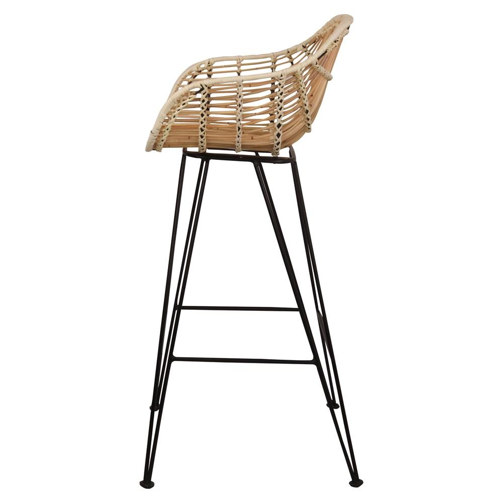 Cadeira de bar Alvito, rattan natural, 75cm