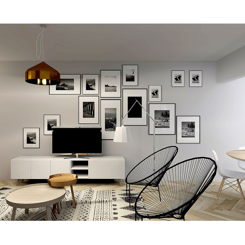 Tapete Block, algodão, branco/preto, 240x70