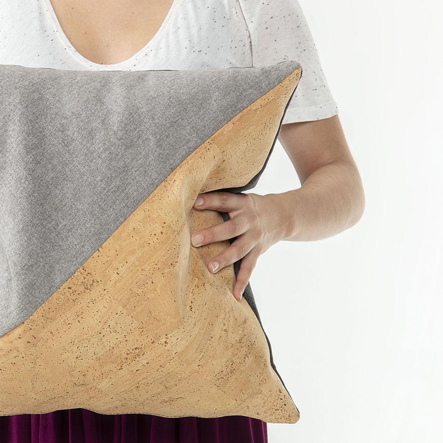 Capa de almofada, algodão/cortiça, 45x45