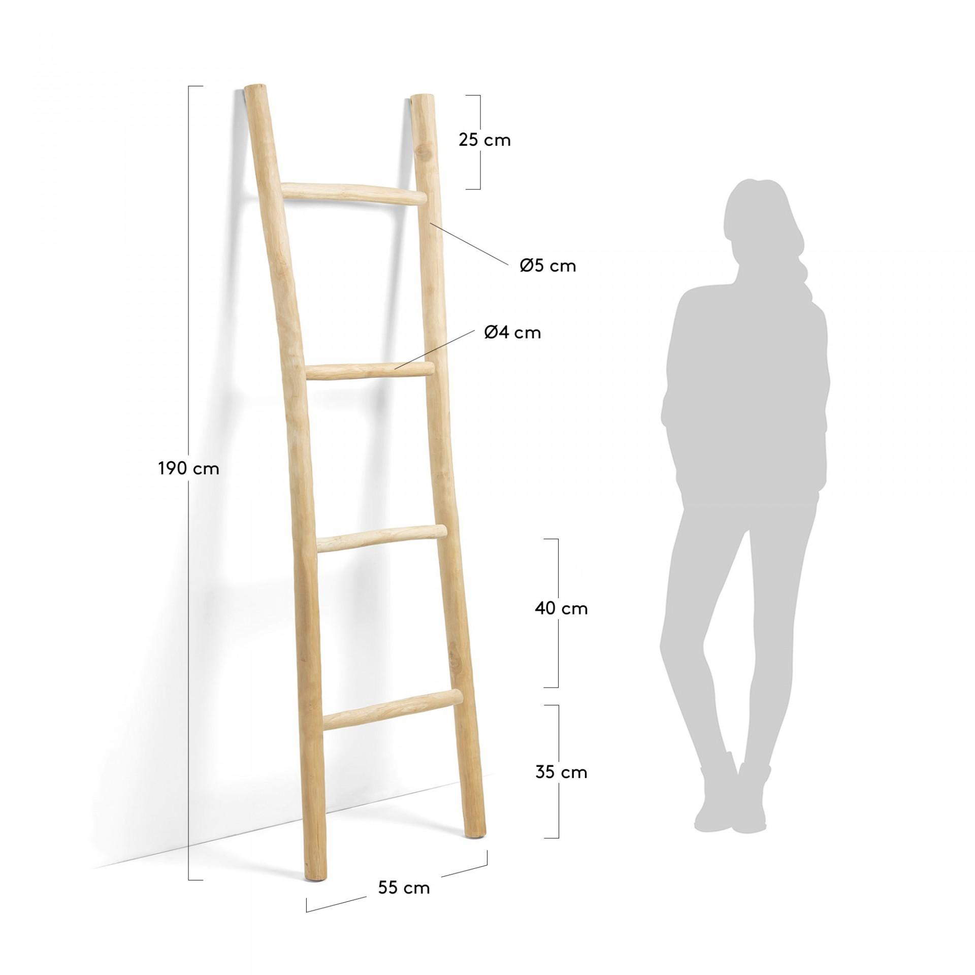 Escada decorativa Magui, madeira de teca natural, 55x190