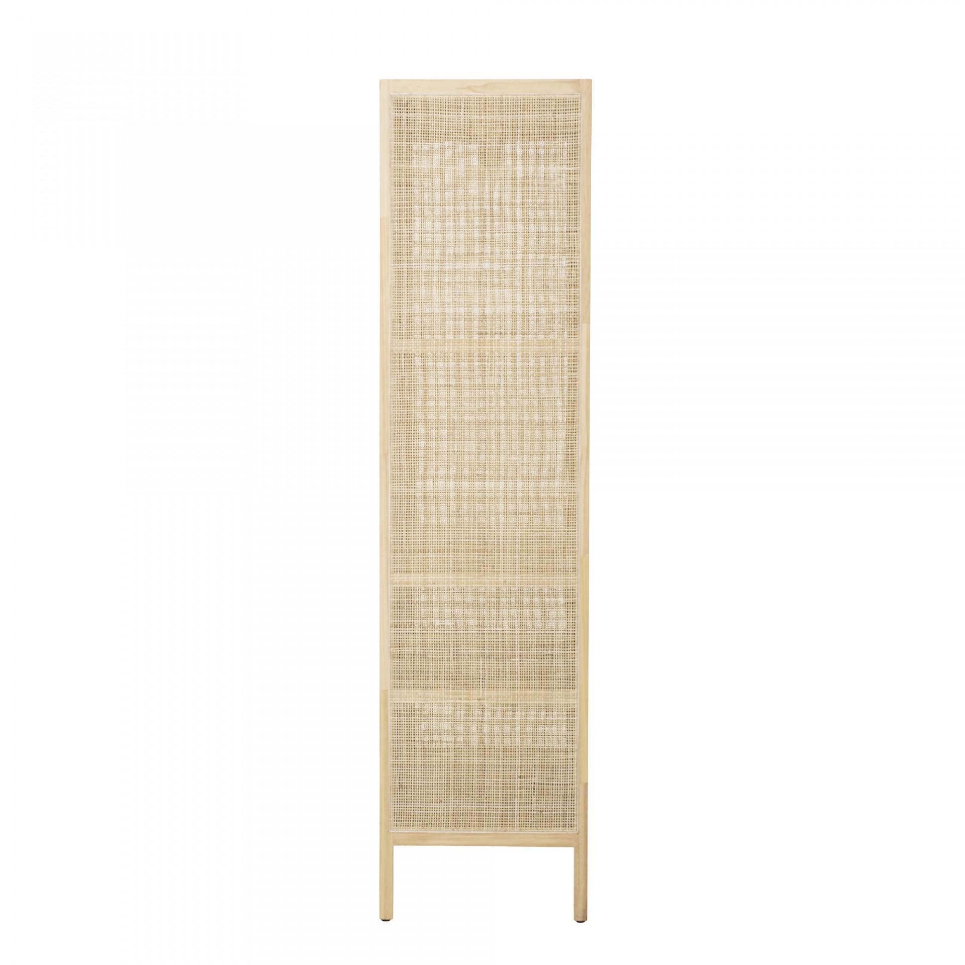 Armário Mariana, madeira de pinho/rattan natural, 85x180