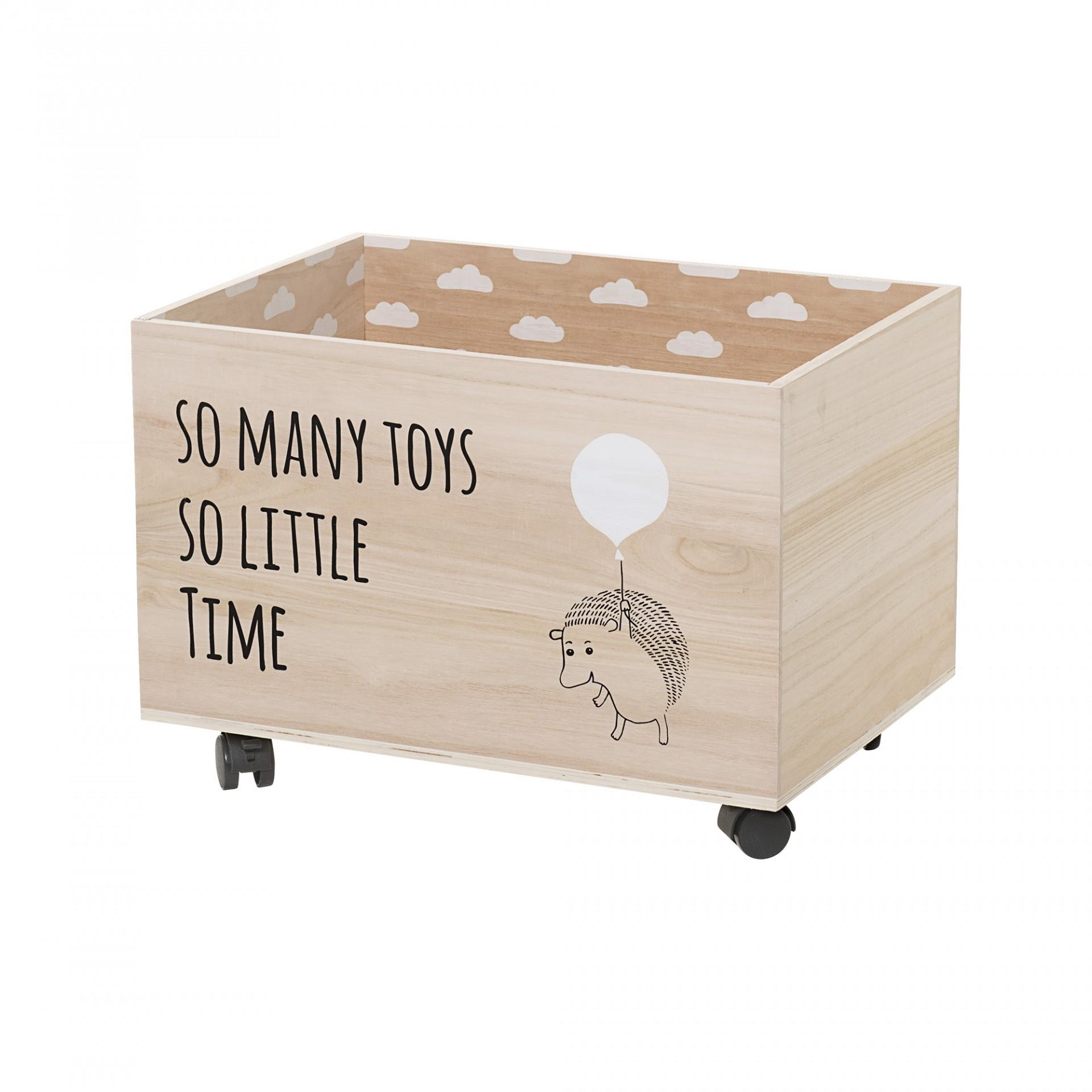 Caixa de arrumação com rodas, madeira Paulownia, 50x35x35