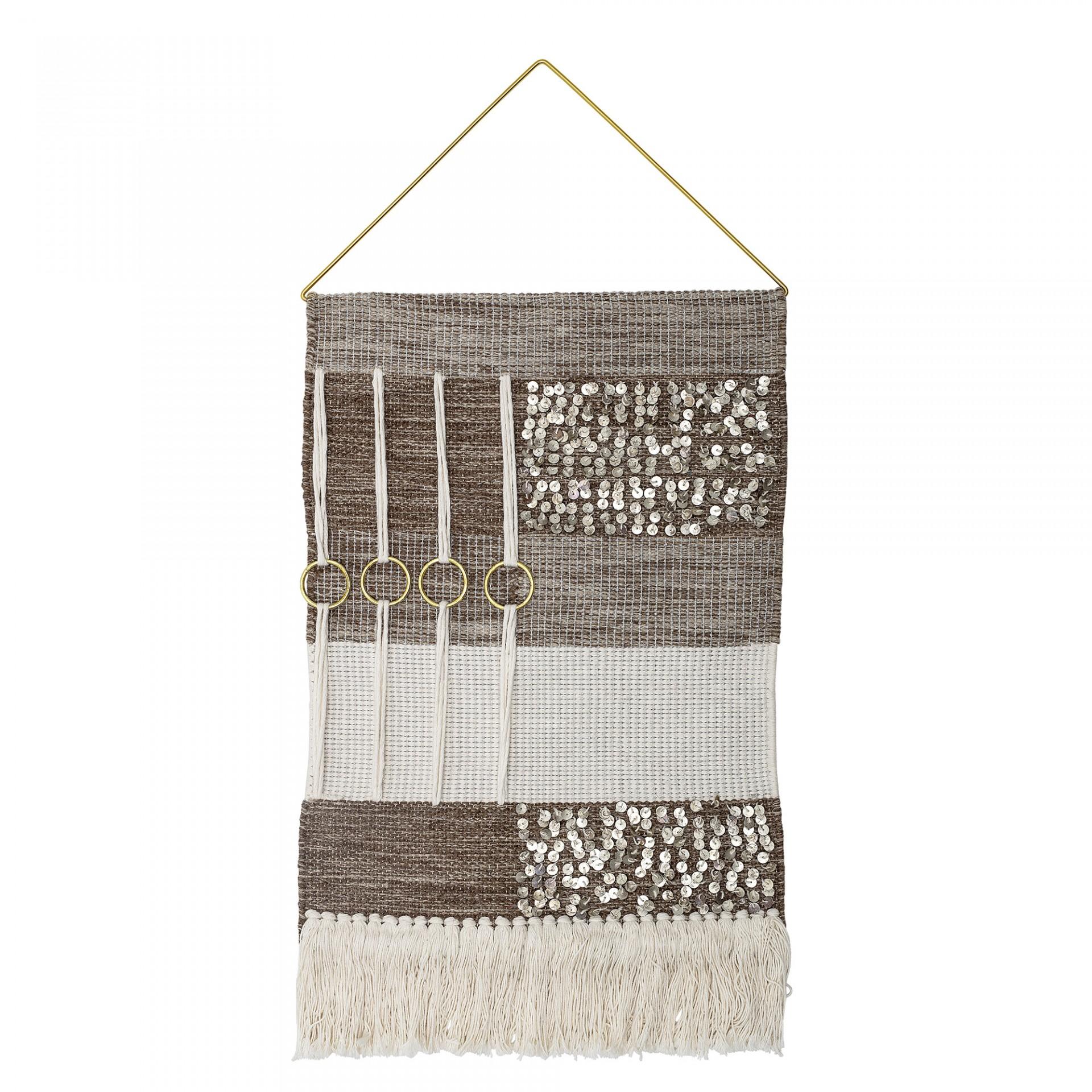 Macramé Woopi, lã/viscose, marron/branco, 71x36