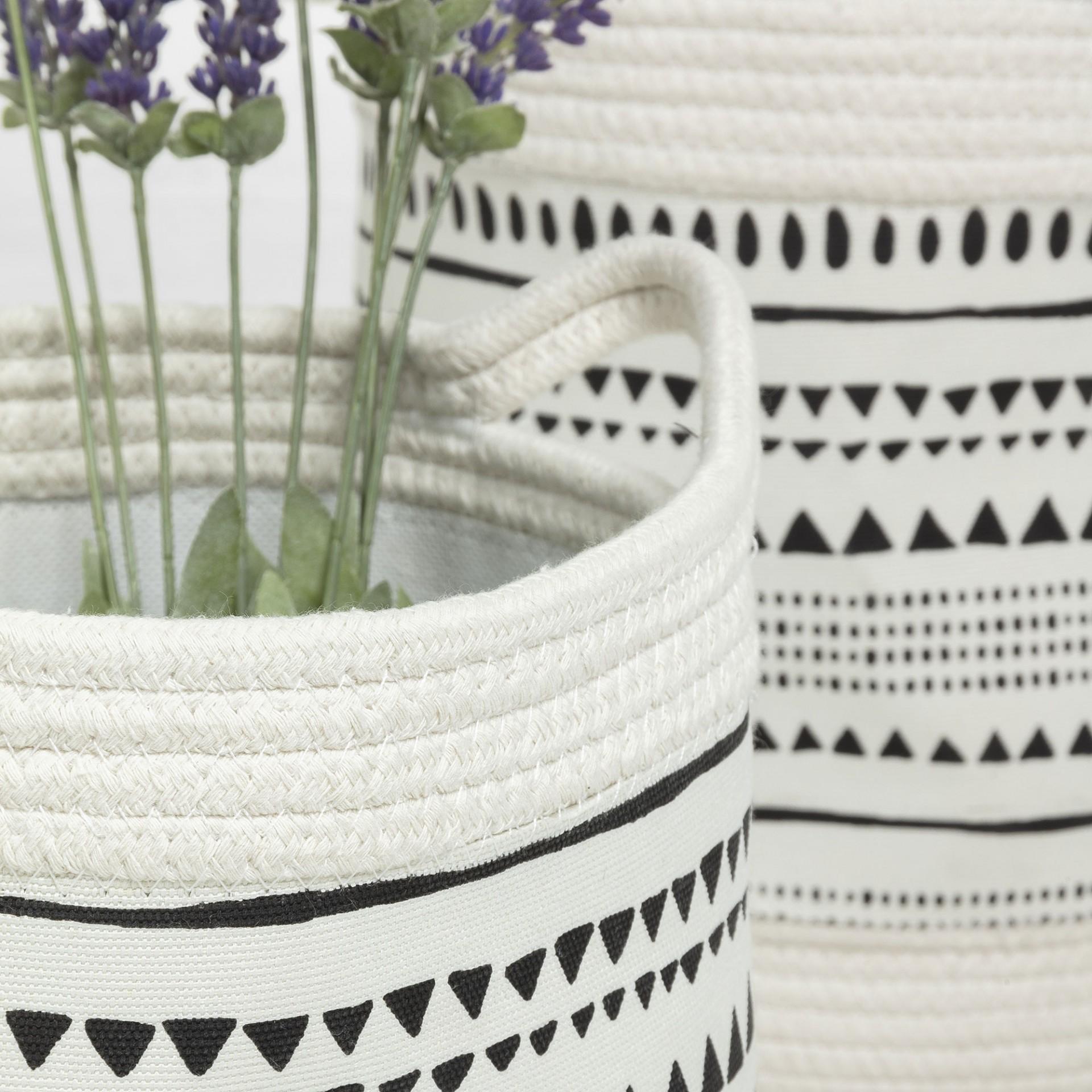 Cestas Kamai, corda de algodão, branco/preto, (Conj.3)