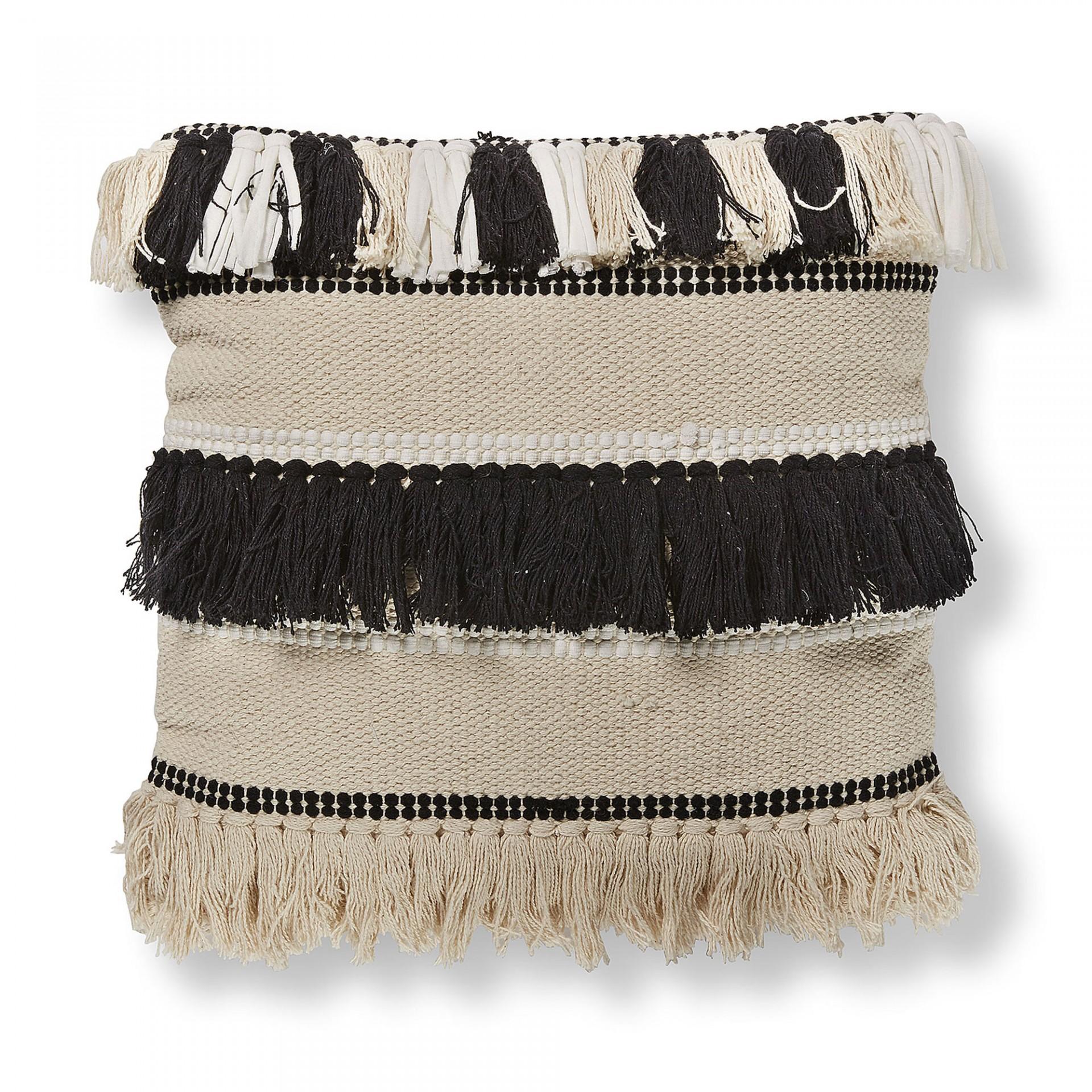 Capa de almofada Fini, c/franjas, preto/bege, 45x45