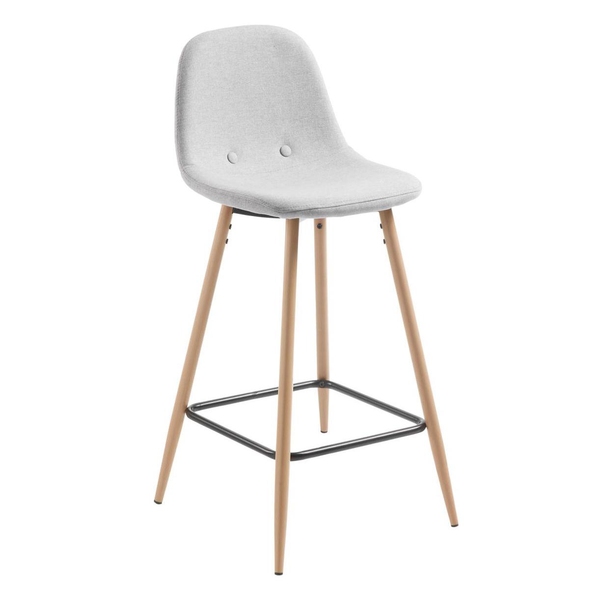 Cadeira de bar Nolita, estofada, cinza