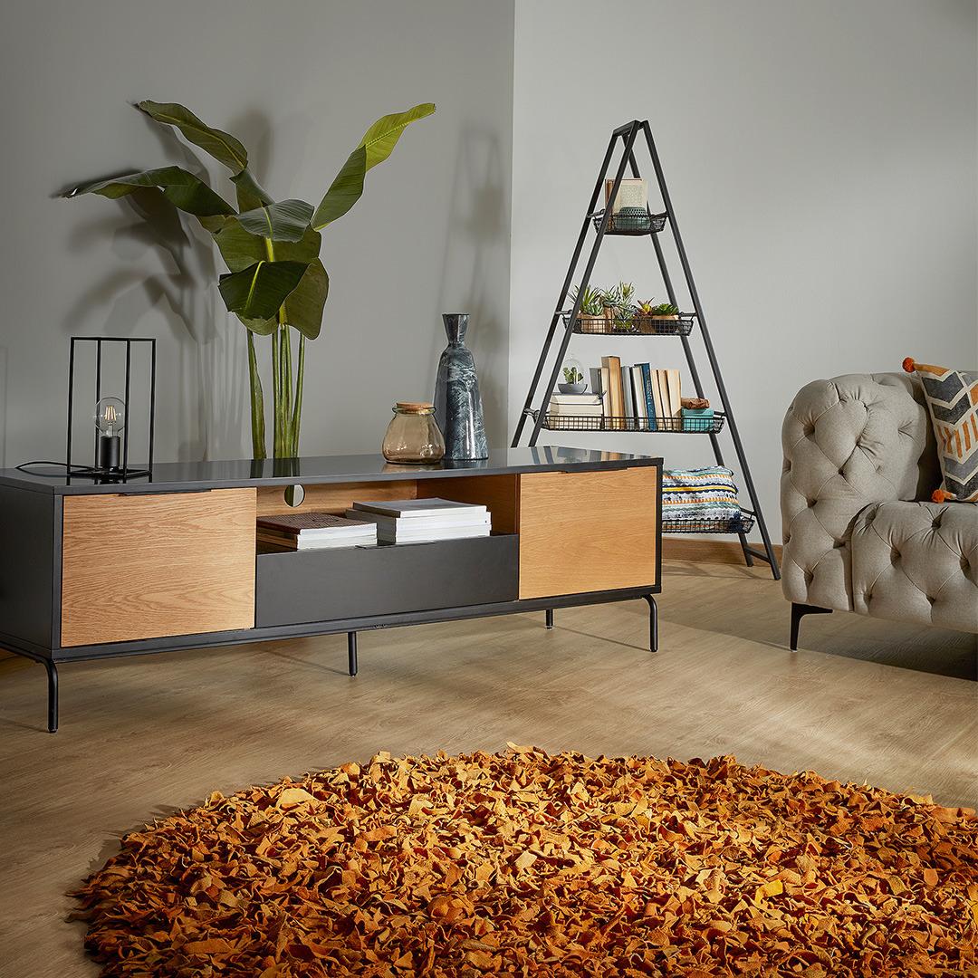 Móvel TV Sava, madeira de carvalho/MDF lacado, 170x50