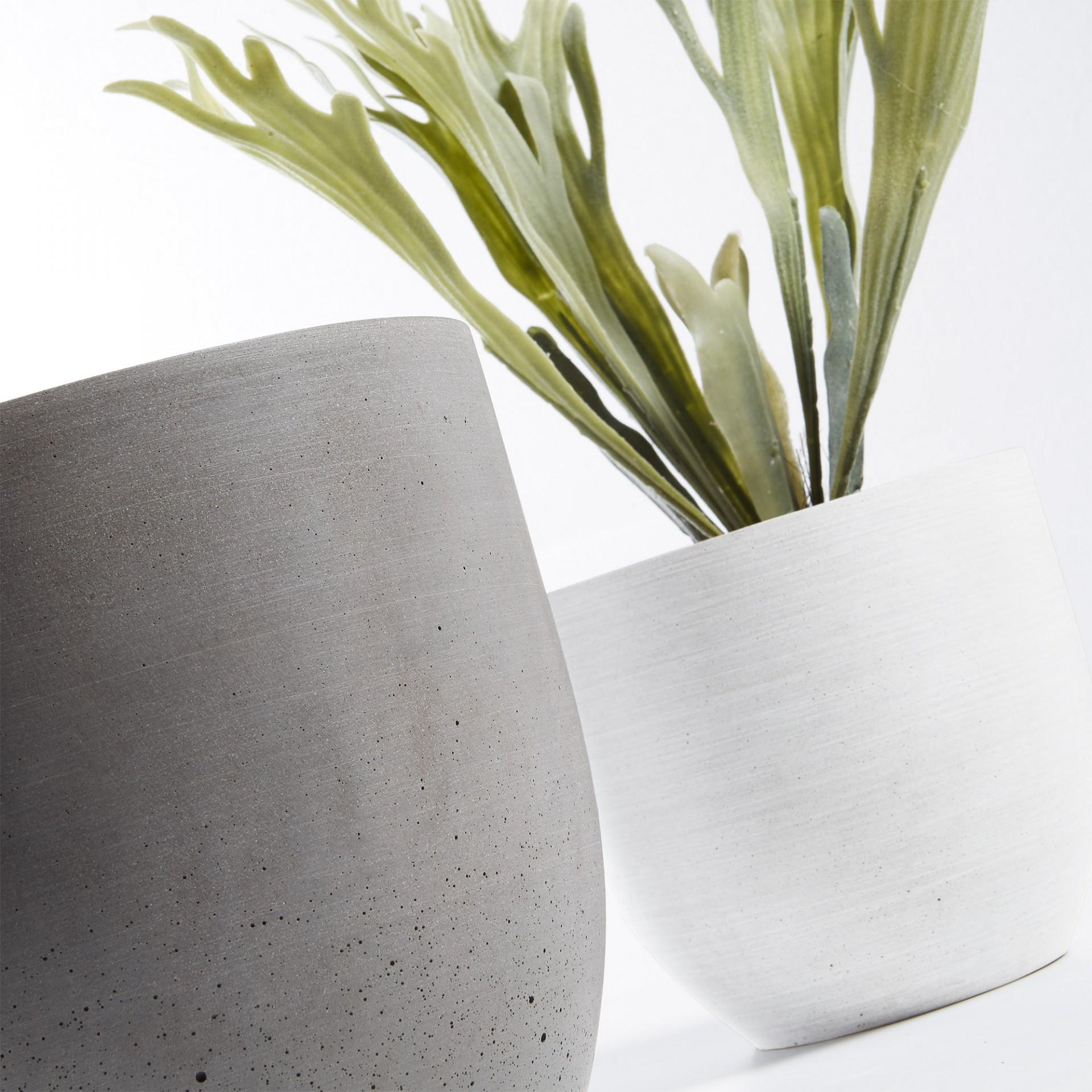 Vasos Low, poli cimento, marron/cinza, (Conj.2)