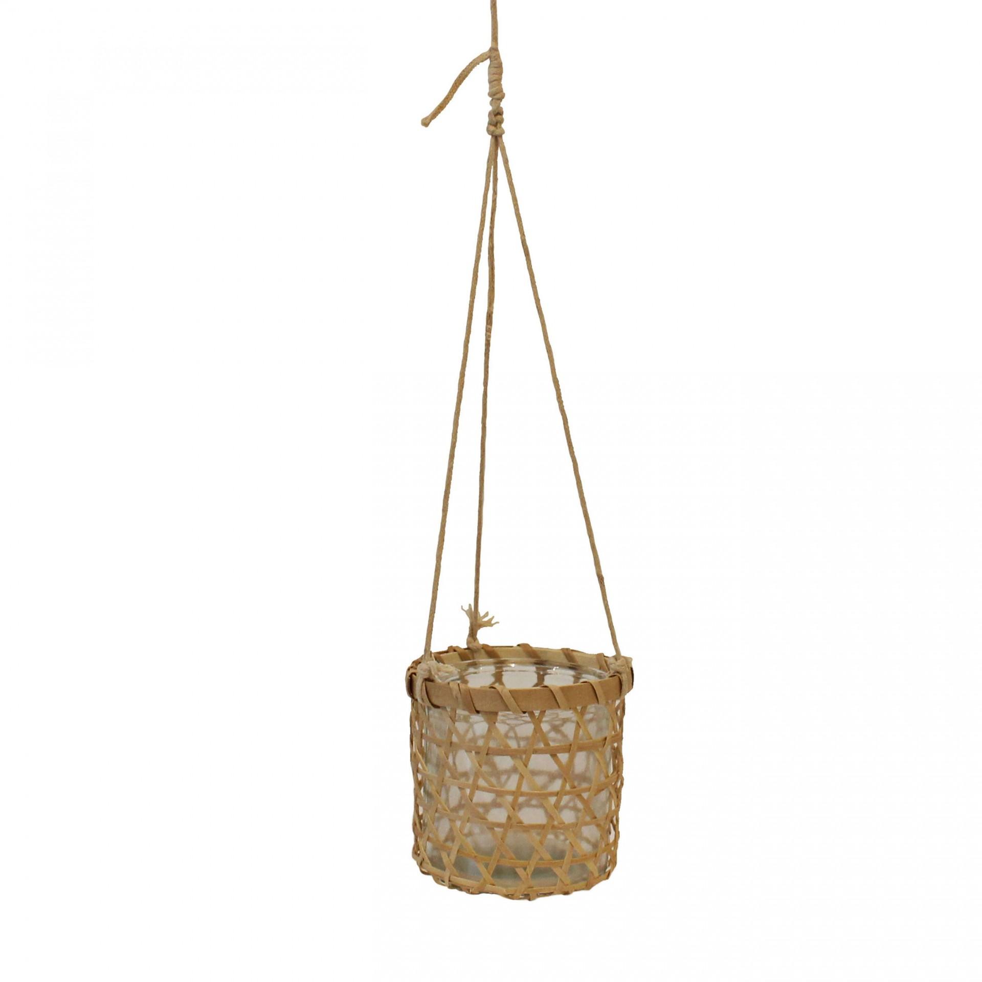 Vaso suspenso, vidro/bambú