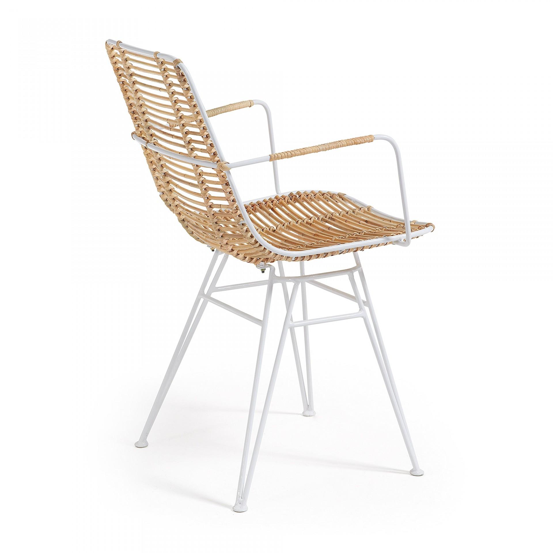 Cadeira Thisa, c/braços, vime natural/metal