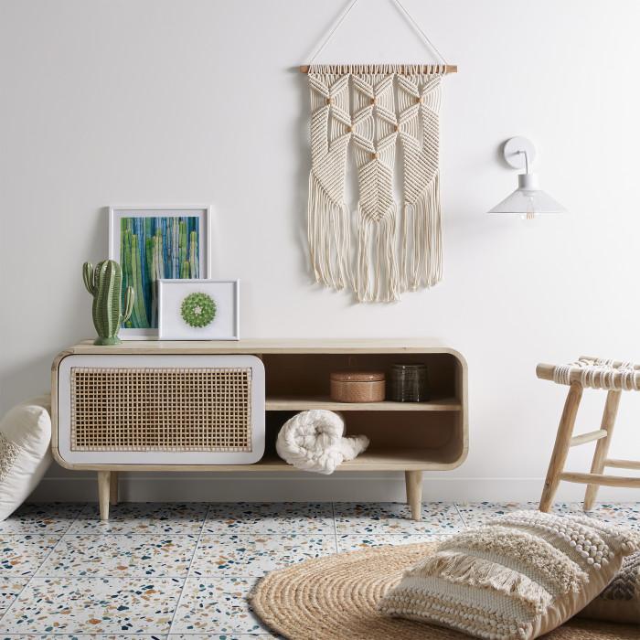 Tamborete Edga, madeira teca/corda de algodão, 45x32x45