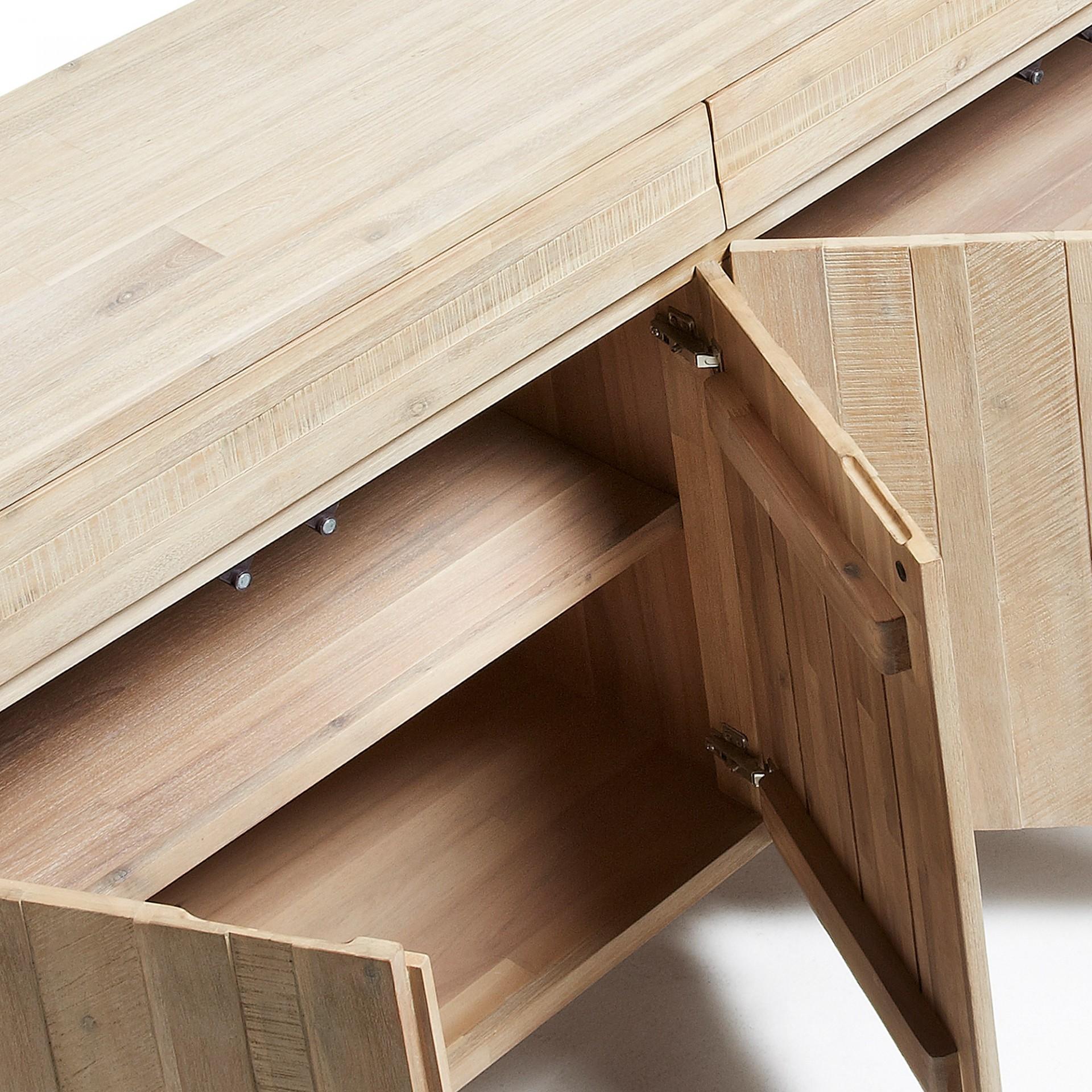 Aparador Tinn, madeira de acácia natural, 184x45x98