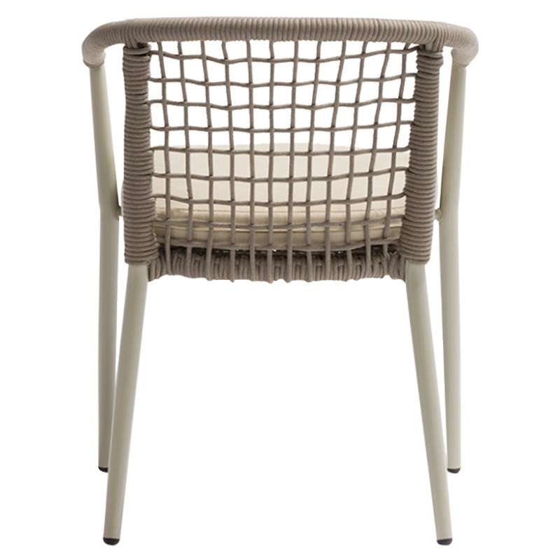Cadeira Tialvi, alumínio/vime sintético, bege