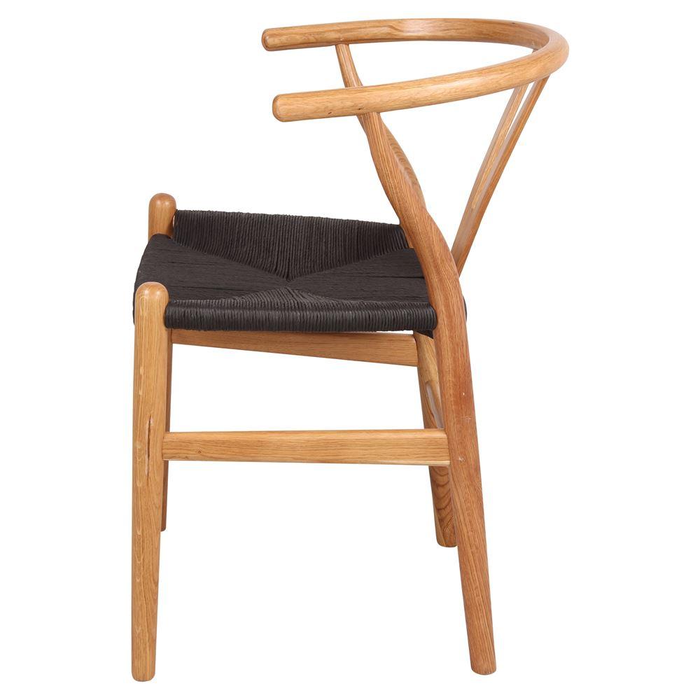 Cadeira Wishbone, madeira de carvalho/rattan, preto