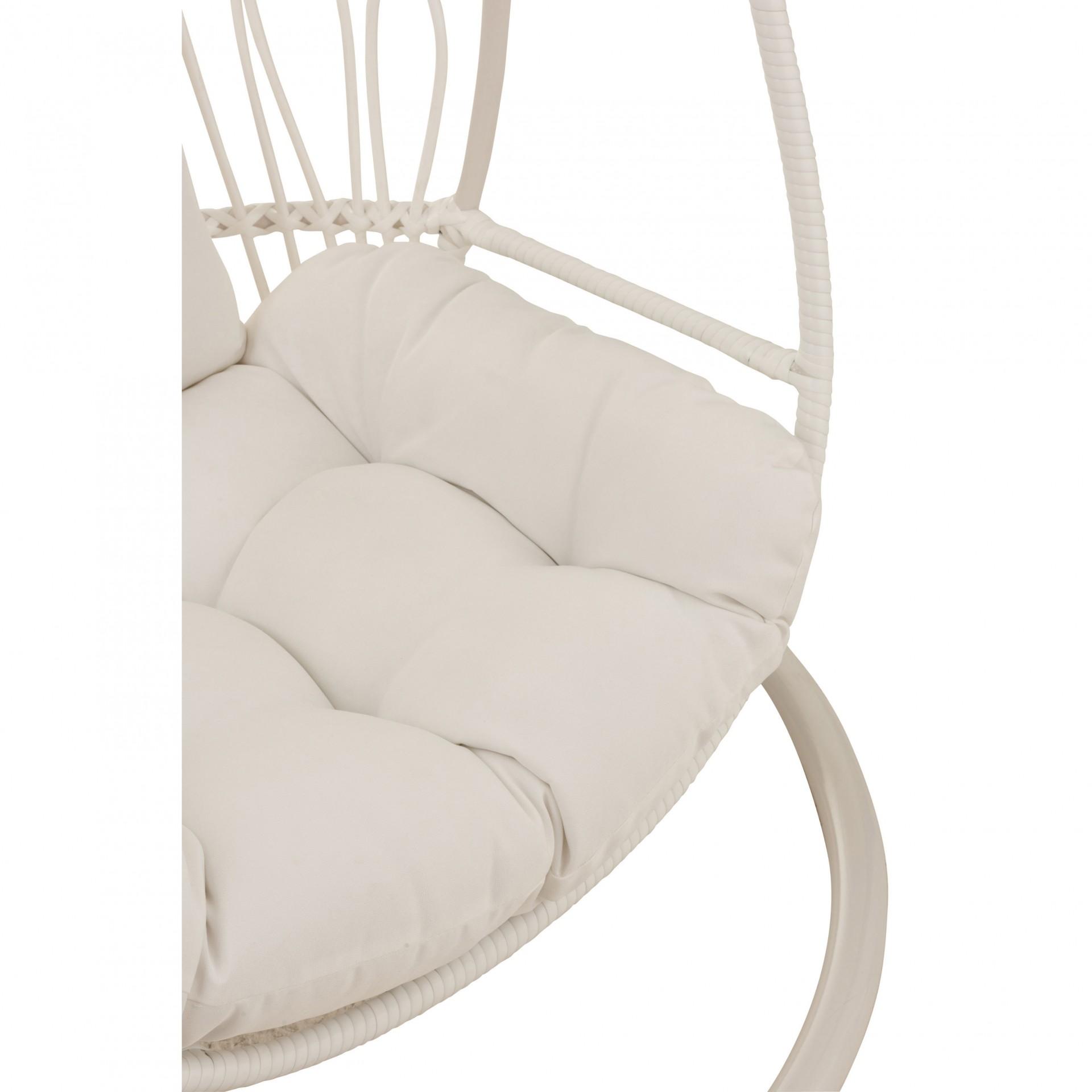 Cadeira suspensa c/base, metal/vime, branco, 113x103x197