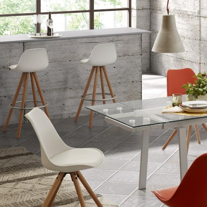 Cadeira Rafa, assento acolchoado, madeira faia