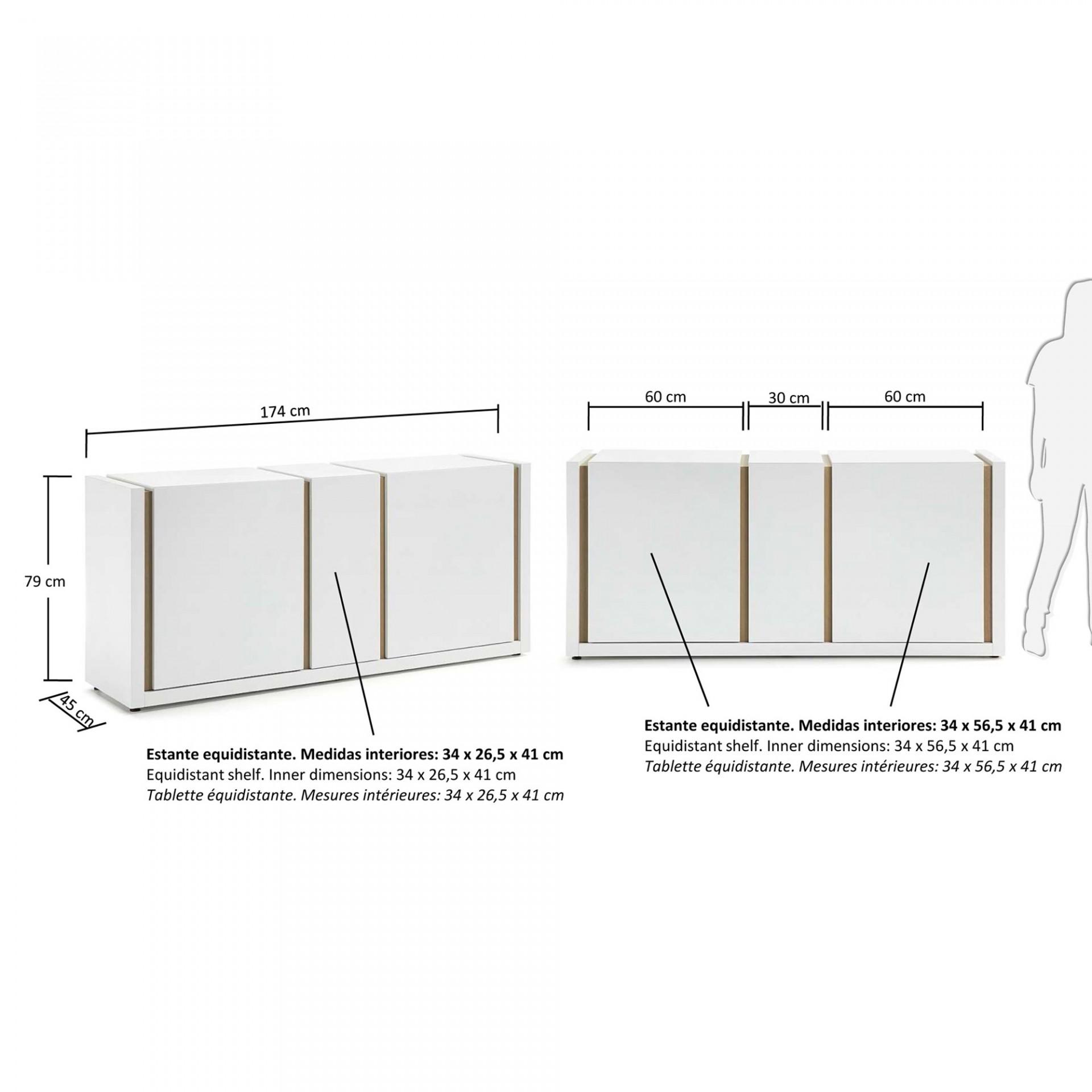 Aparador Dip, madeira de carvalho/MDF lacado, 174x45x79