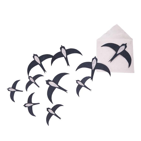 Andorinhas em papel Lokta, preto