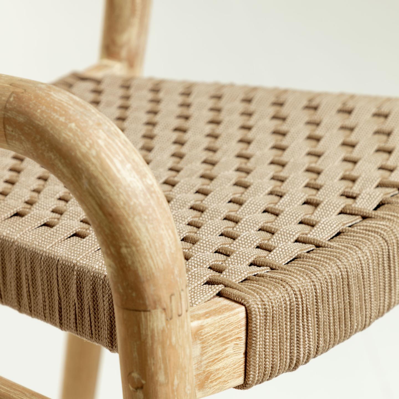 Cadeira de bar Sherry, madeira de eucalipto/corda poliéster, 79cm