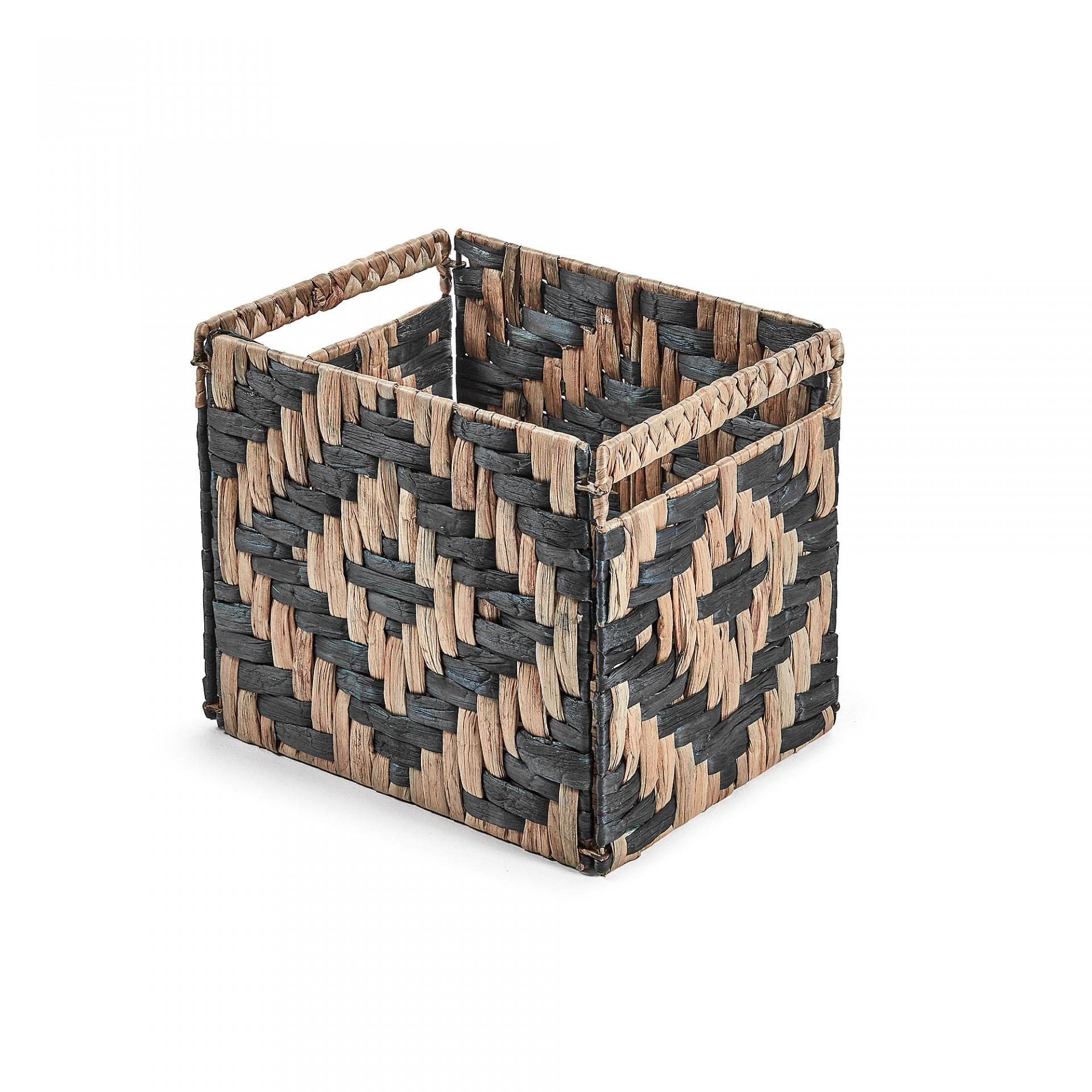 Caixa de arrumação Worth, vime/metal, preto, 35x25x27