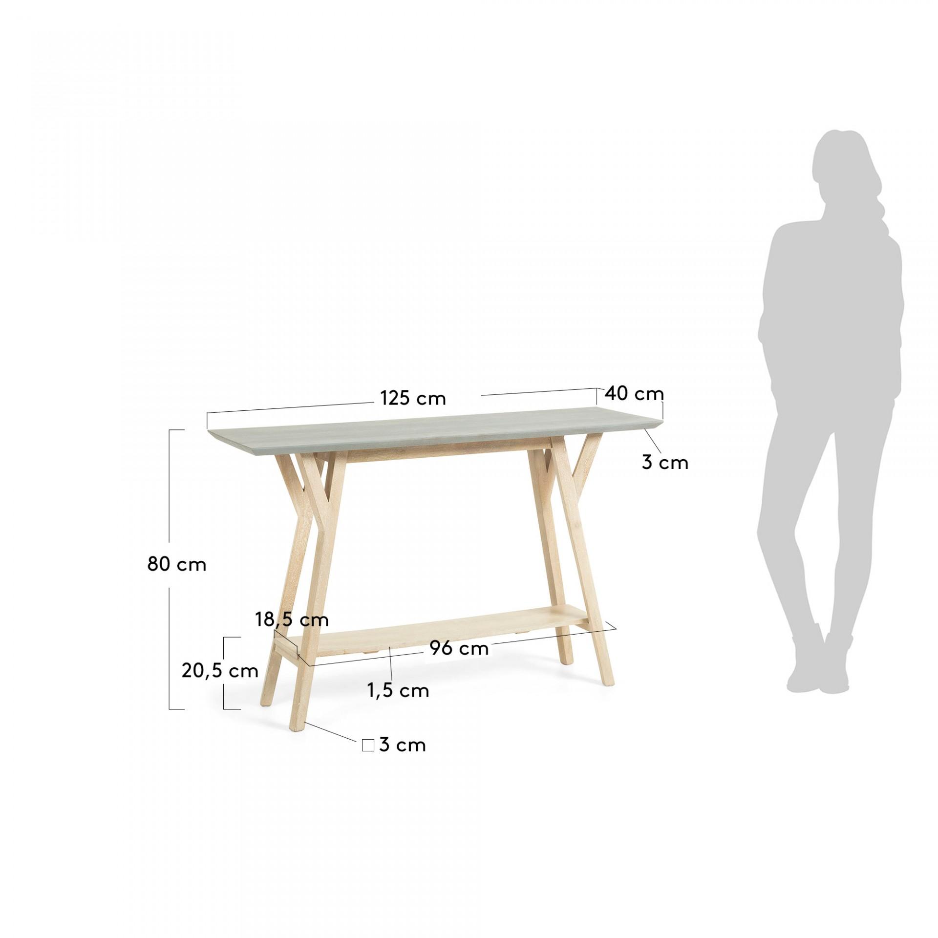 Consola em madeira de mangueira natural, 125x80