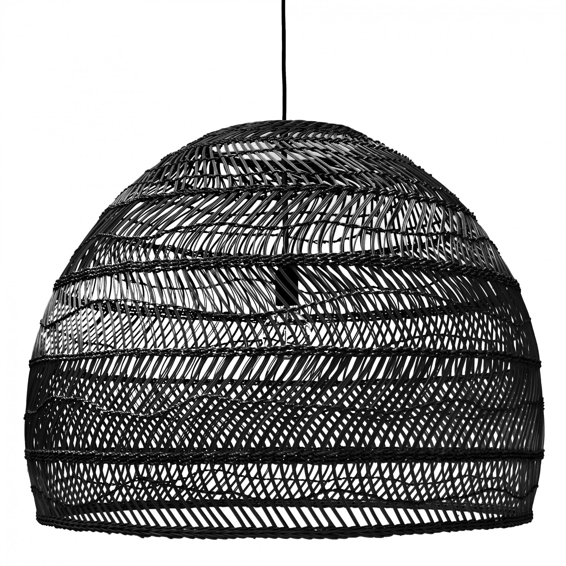 Candeeiro de tecto Ball, rattan natural, preto