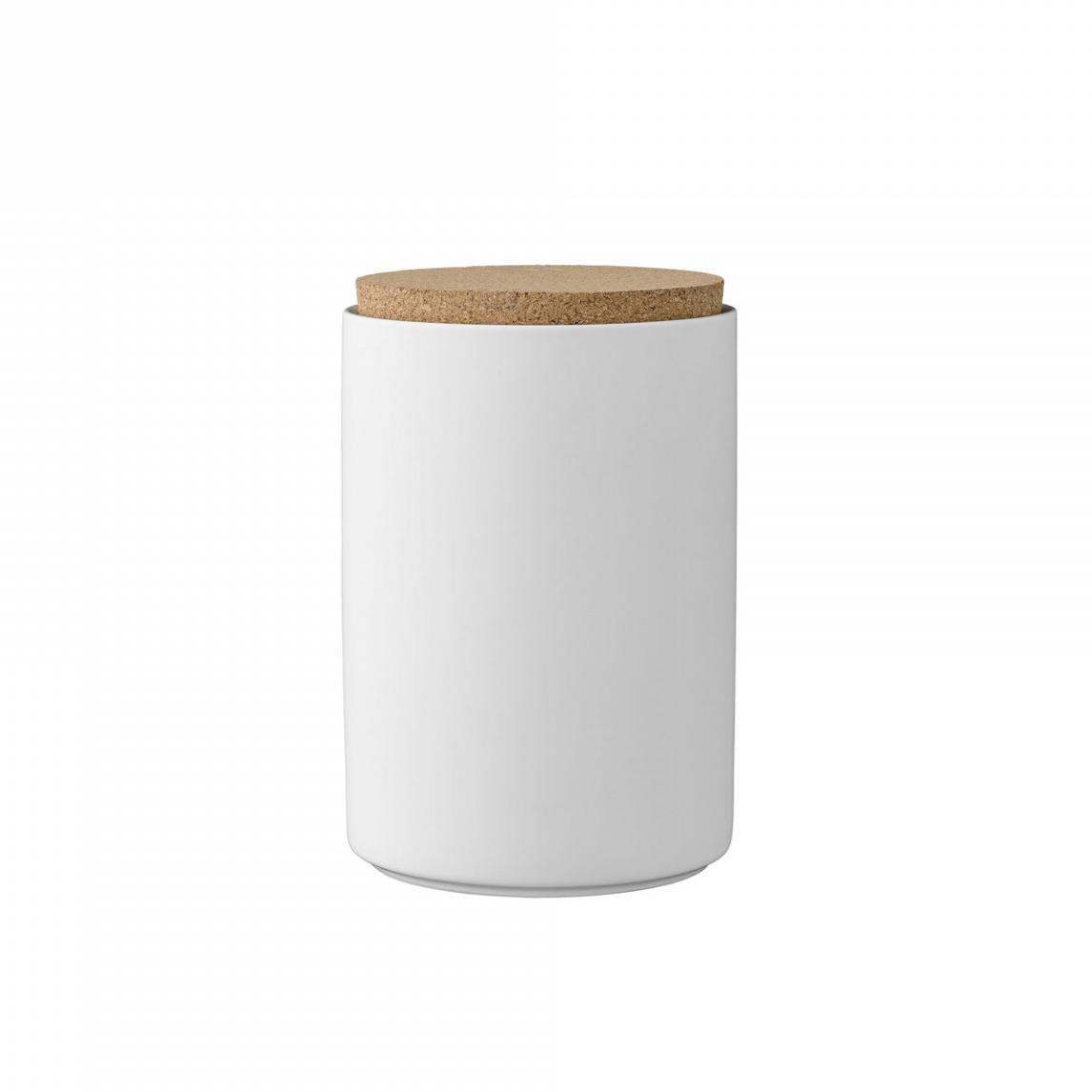 Pote em porcelana, tampa de cortiça, branco, Ø11x16
