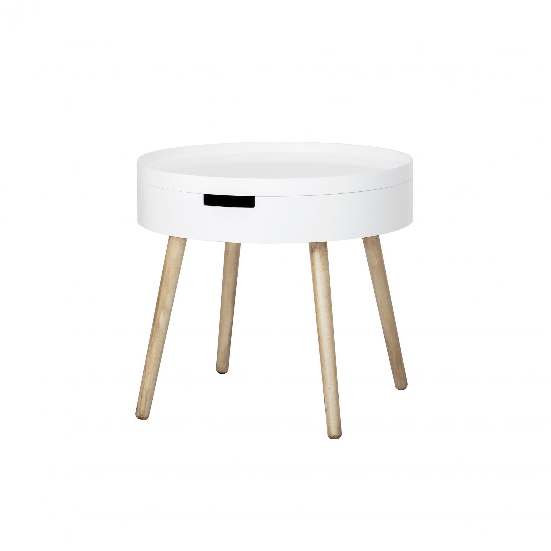 Mesa de apoio Tippa, madeira de pinho/MDF lacado, Ø50x45