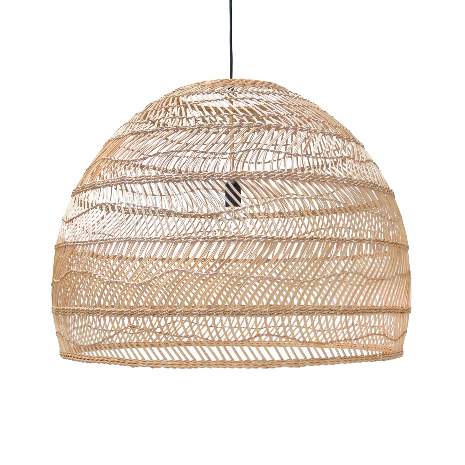 Candeeiro de tecto Ball, rattan natural, Ø80x60