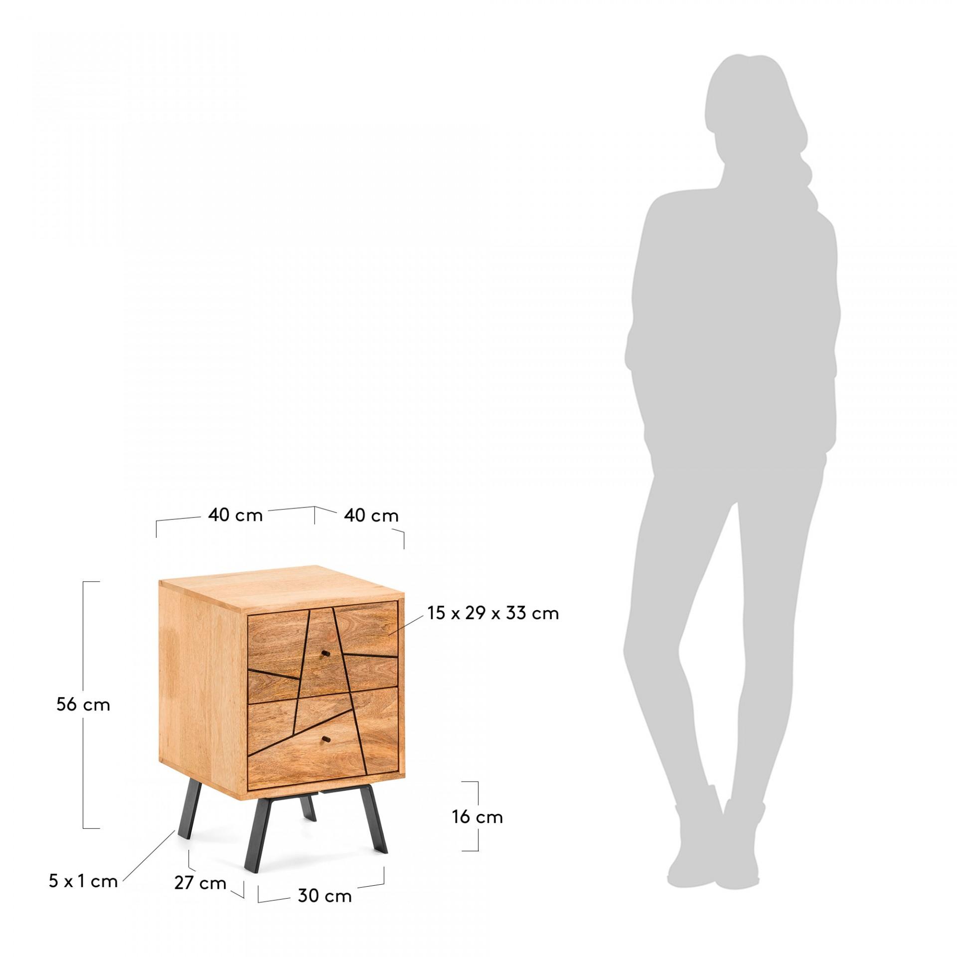 Mesa de cabeceira Baia, madeira de manga natural, 40x56